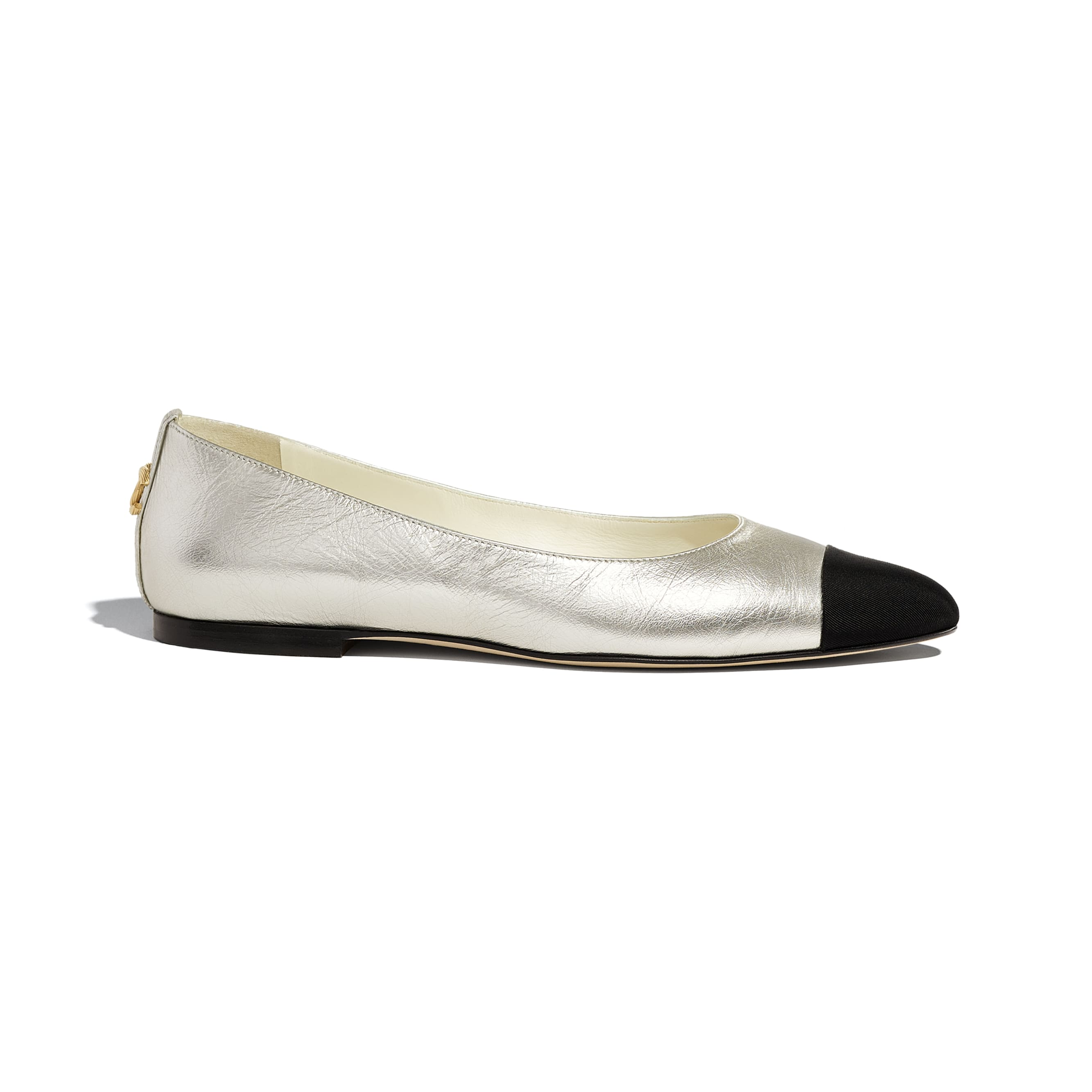 Flats - Silver & Black - Laminated Lambskin & Grosgrain - CHANEL - Default view - see standard sized version