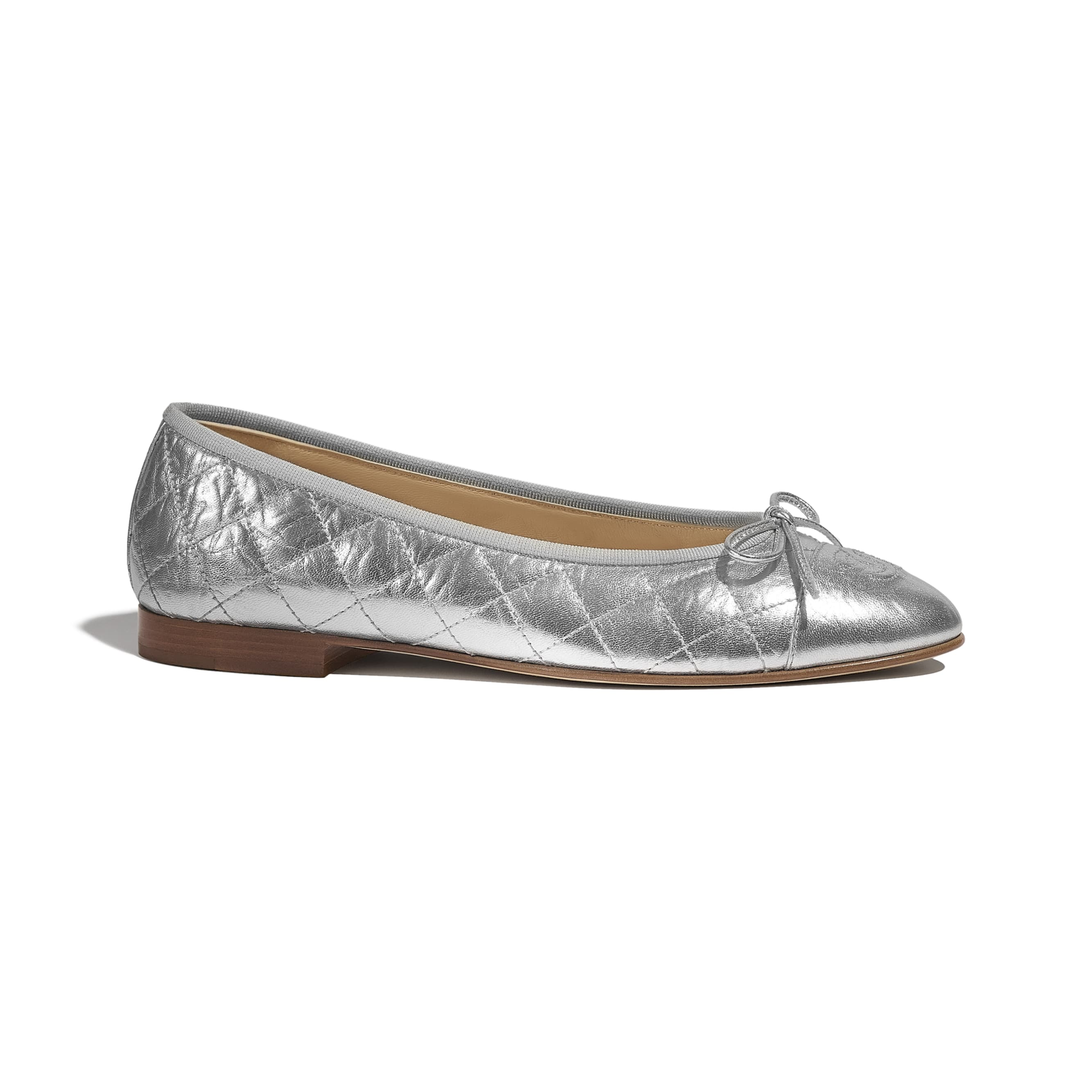 Ballerinas - Silver - Laminated Lambskin - CHANEL - Default view - see standard sized version