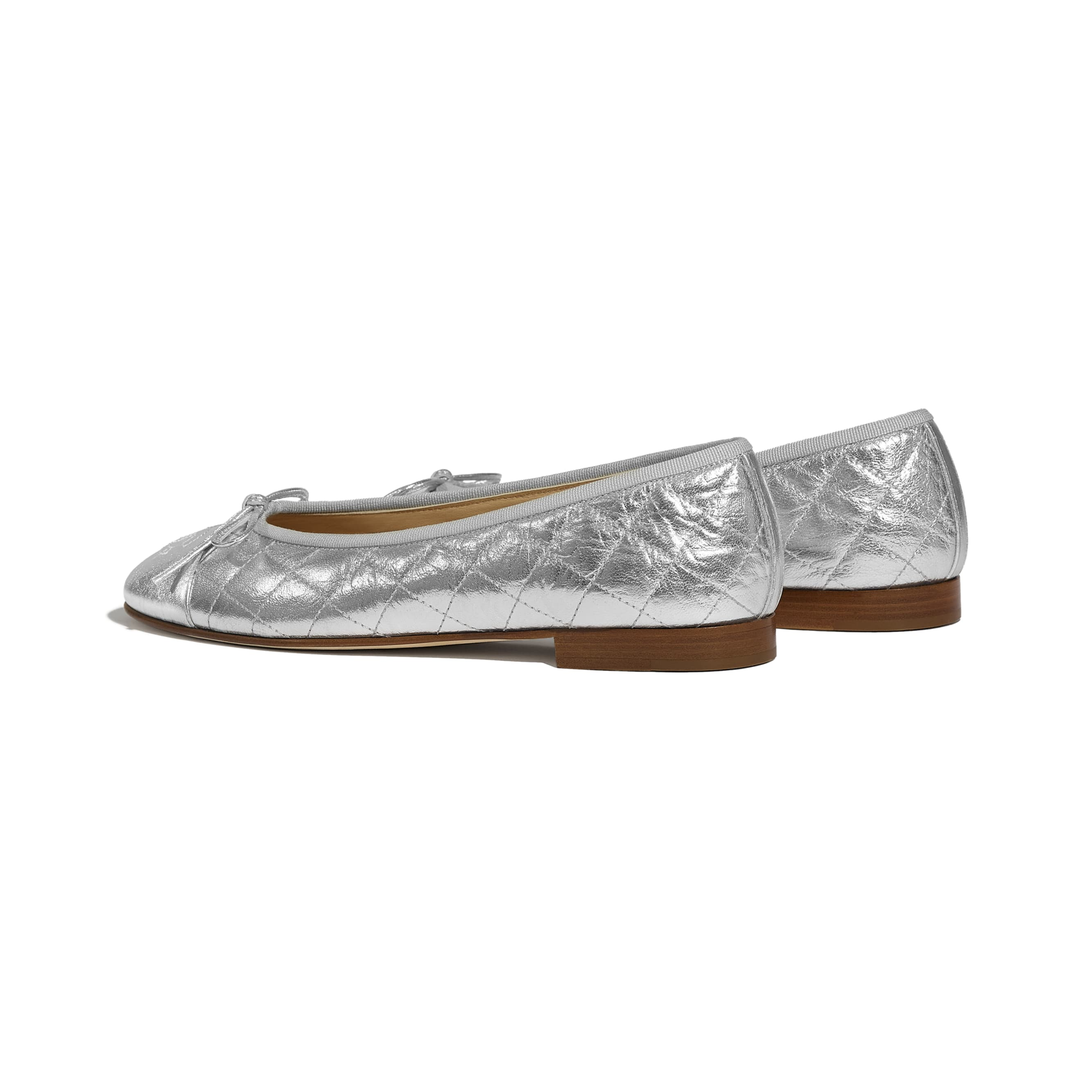 Ballerinas - Silver - Laminated Lambskin - CHANEL - Other view - see standard sized version