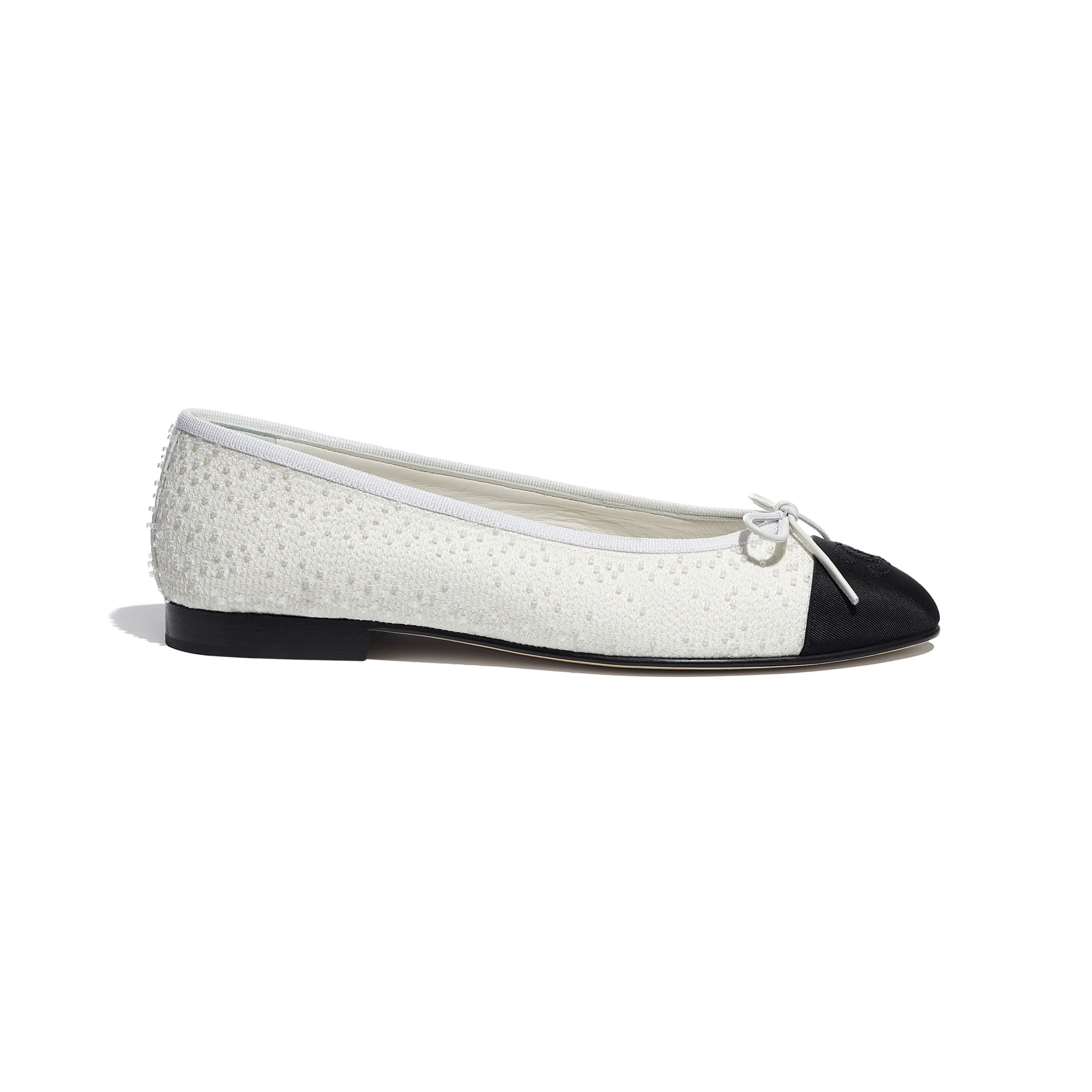 Flats - White & Black - Embroidered Fabric & Grosgrain - CHANEL - Default view - see standard sized version