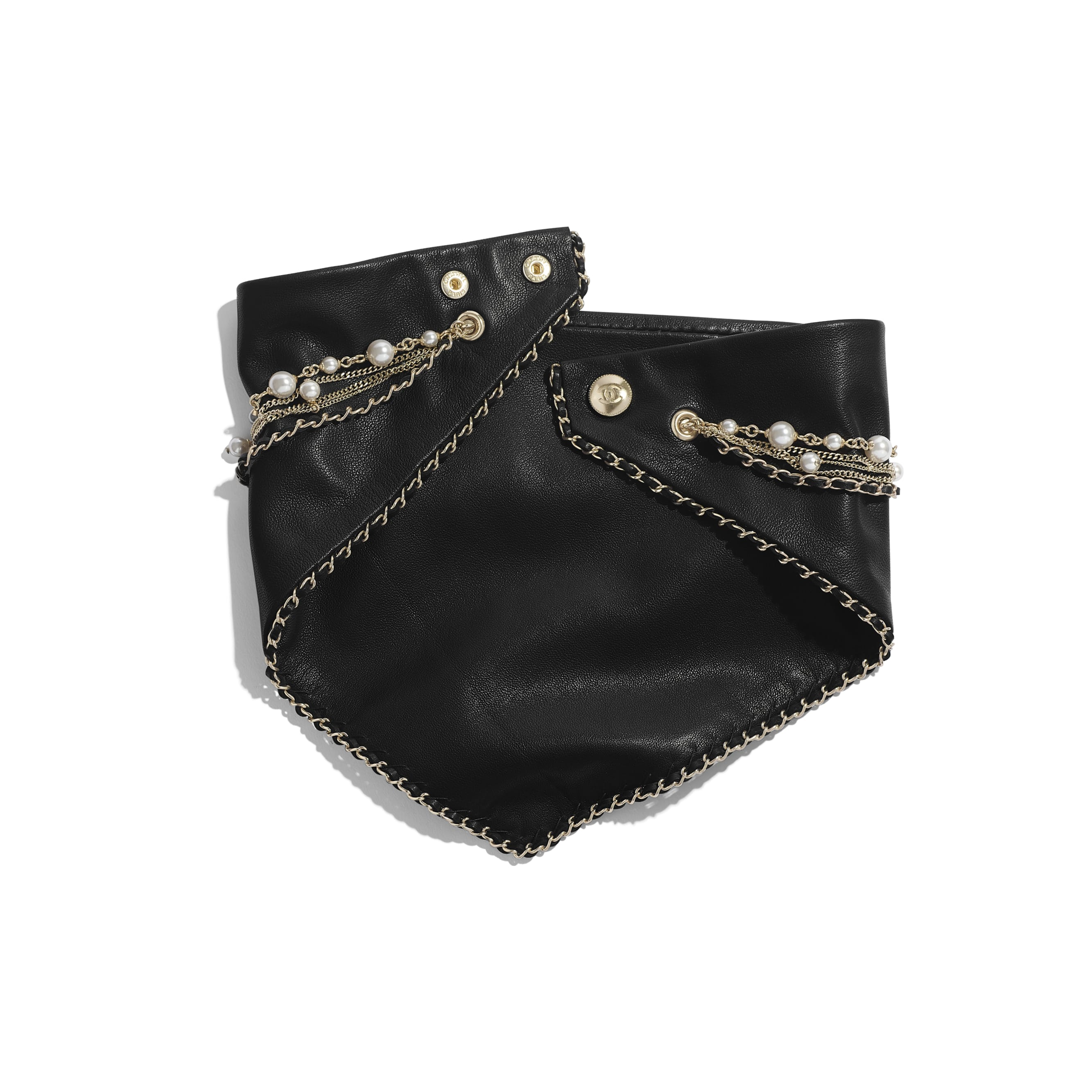 Bandana - Black, Pearly White & Crystal - Lambskin, Calfskin, Glass Pearls, Strass & Gold-Tone Metal - Alternative view - see standard sized version