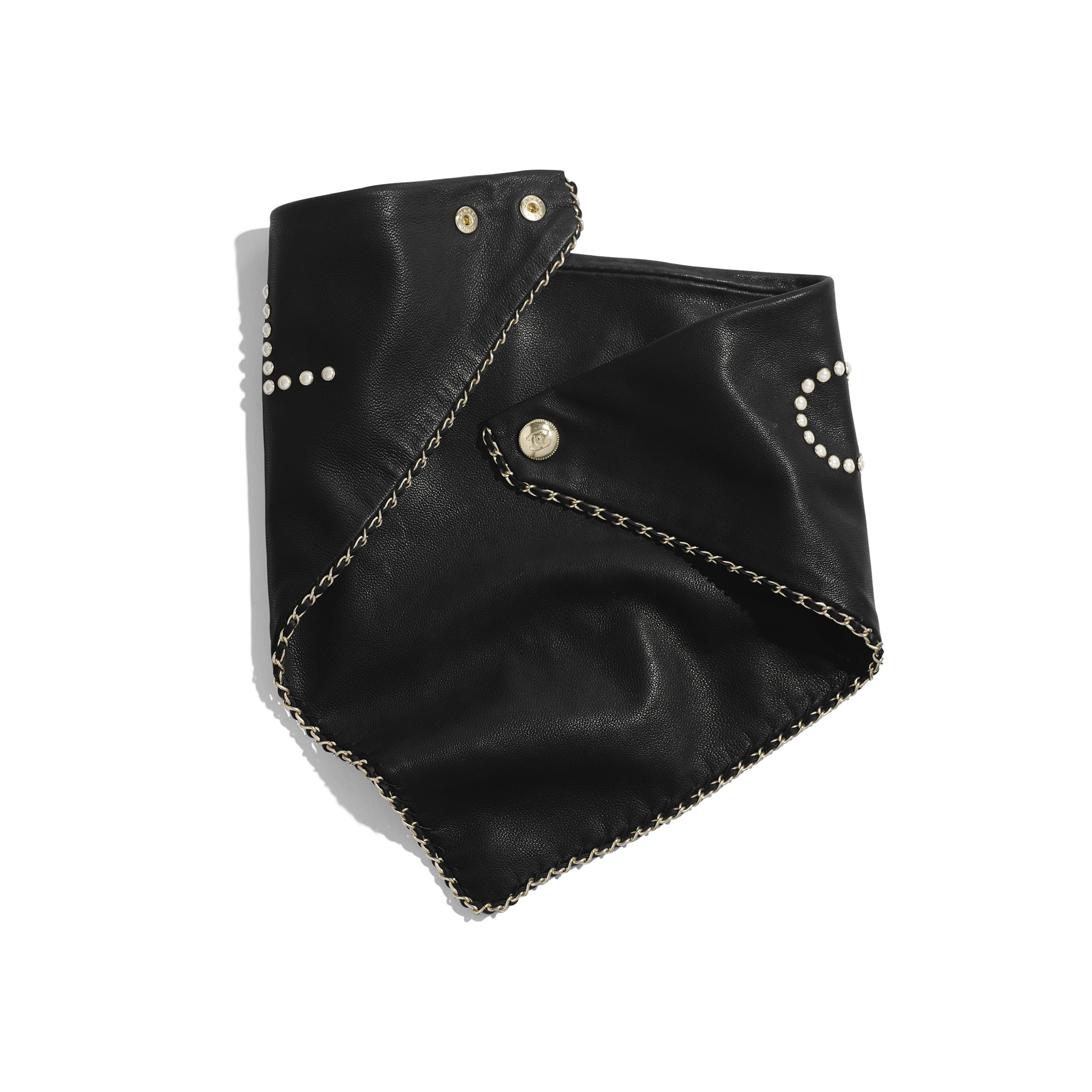 Bandana - Black & Pearly White - Glass Pearls & Gold-Tone Metal - Alternative view - see standard sized version
