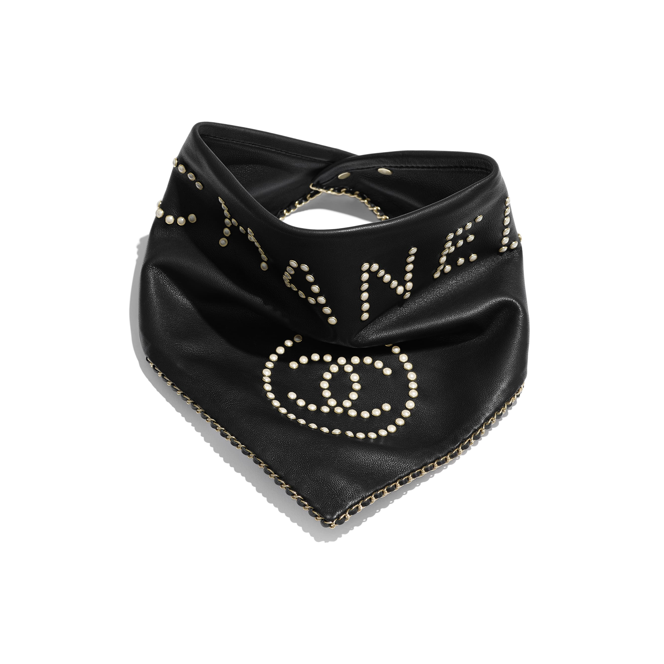 Bandana - Black & Pearly White - Glass Pearls & Gold-Tone Metal - Default view - see standard sized version