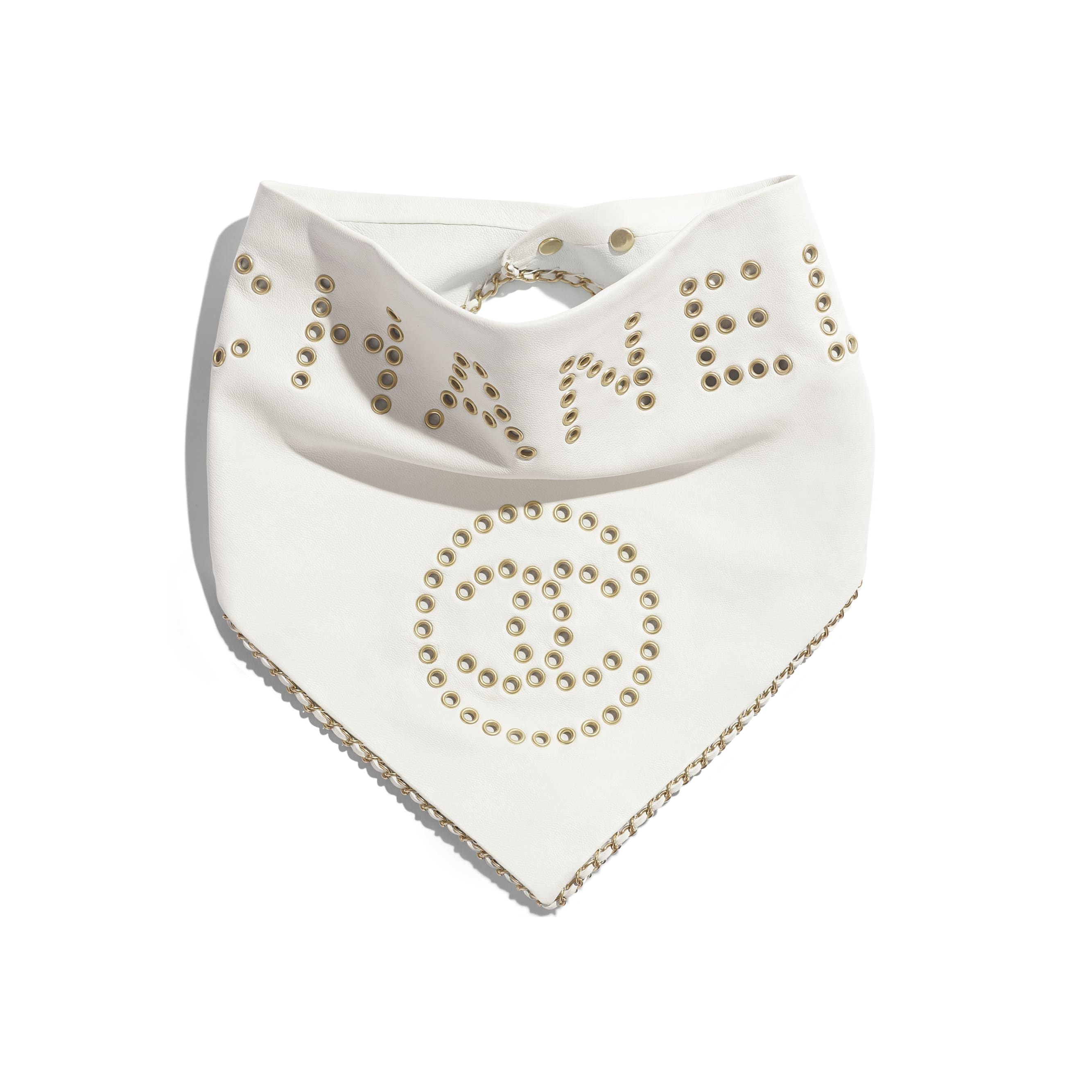 Bandana - White - Lambskin, Calfskin & Gold-Tone Metal - Default view - see standard sized version