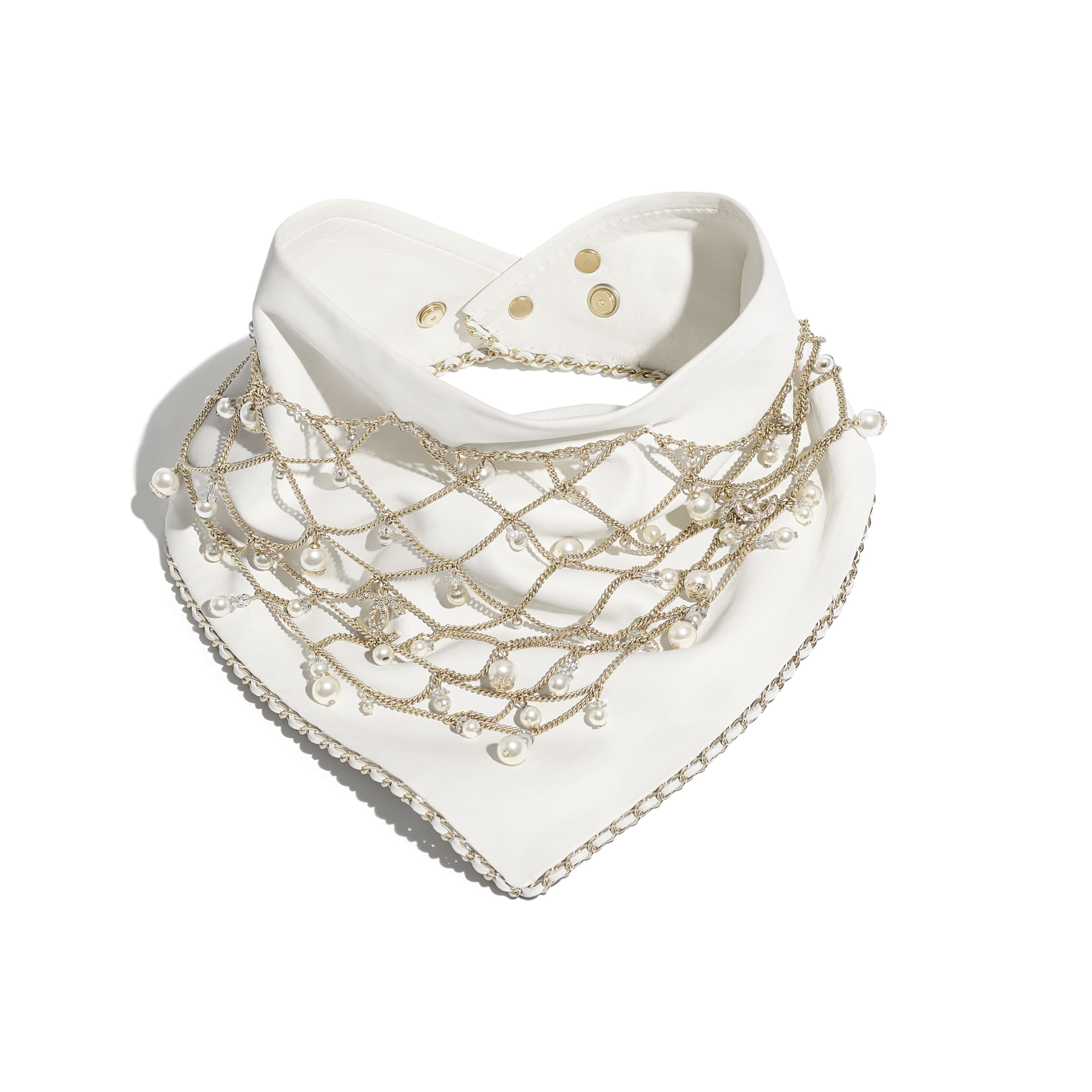 Bandana - White, Pearly White & Crystal - Lambskin, Calfskin, Glass Pearls, Strass & Gold-Tone Metal - Default view - see standard sized version