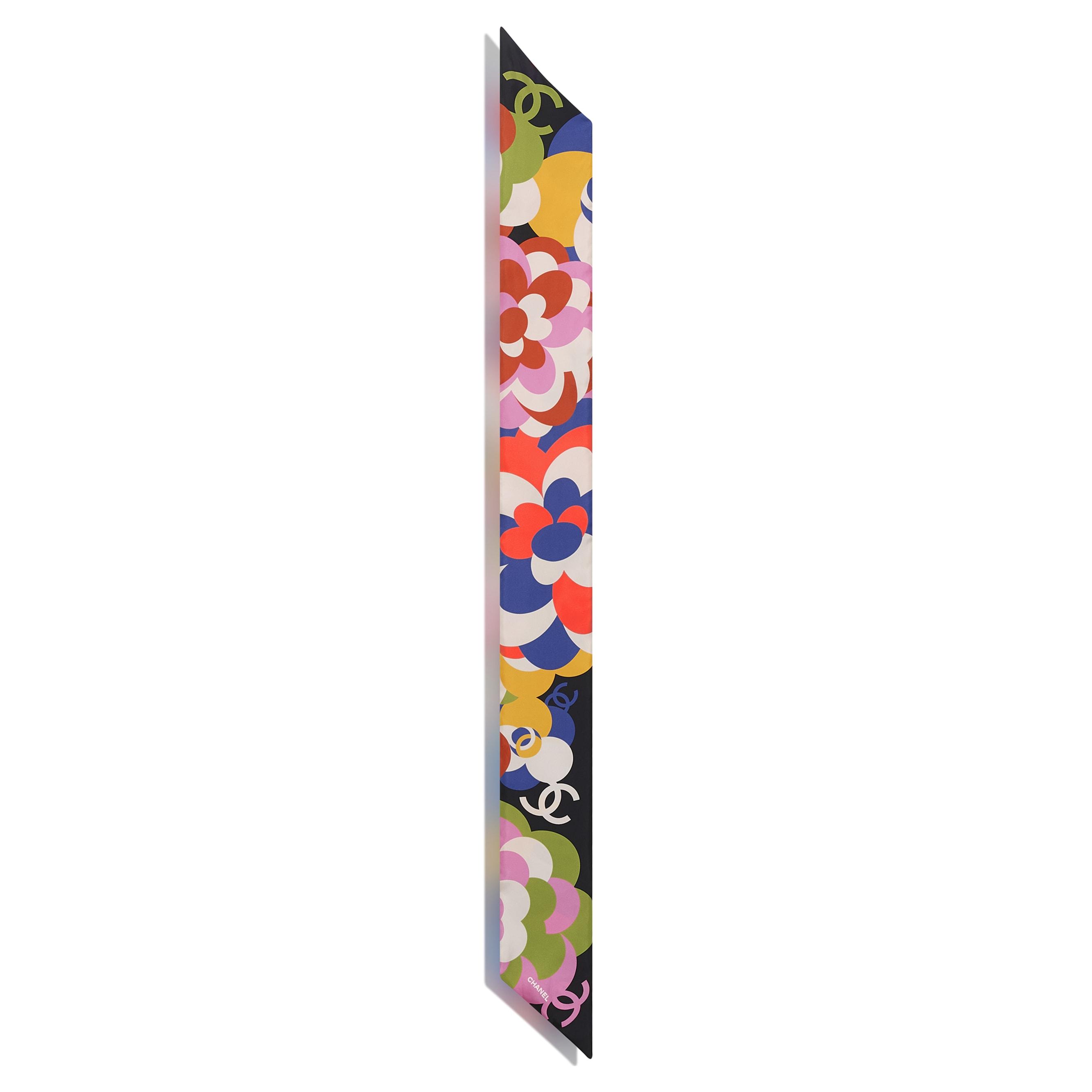 Cerchietto - Nero, blu & multicolor - Twill di seta - CHANEL - Immagine diversa - vedere versione standard