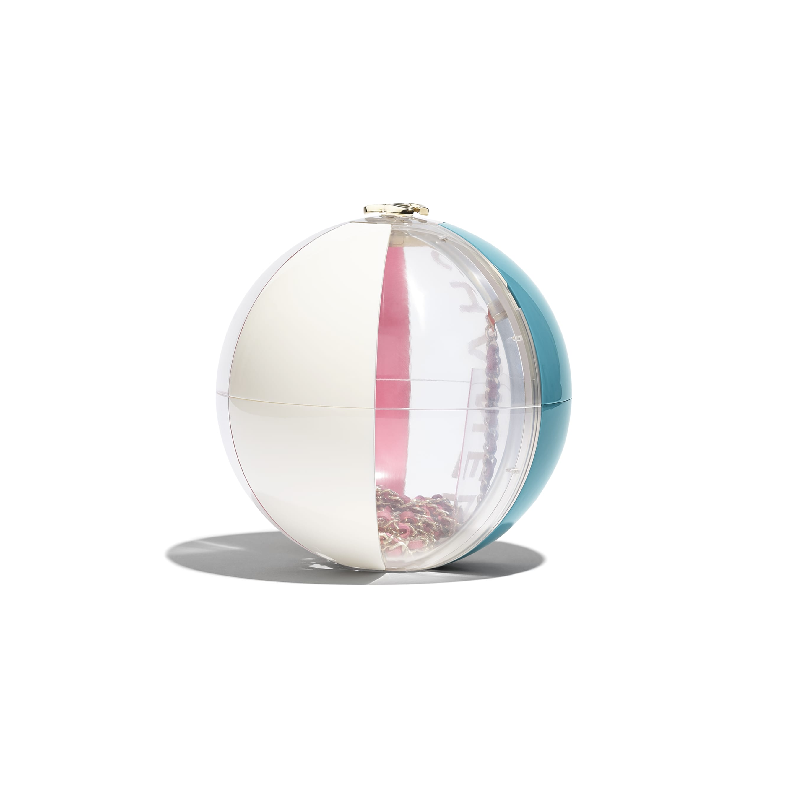 Beach Ball Minaudiere - Turquoise, Pink, White & Transparent - Resin & Gold-Tone Metal - Alternative view - see standard sized version