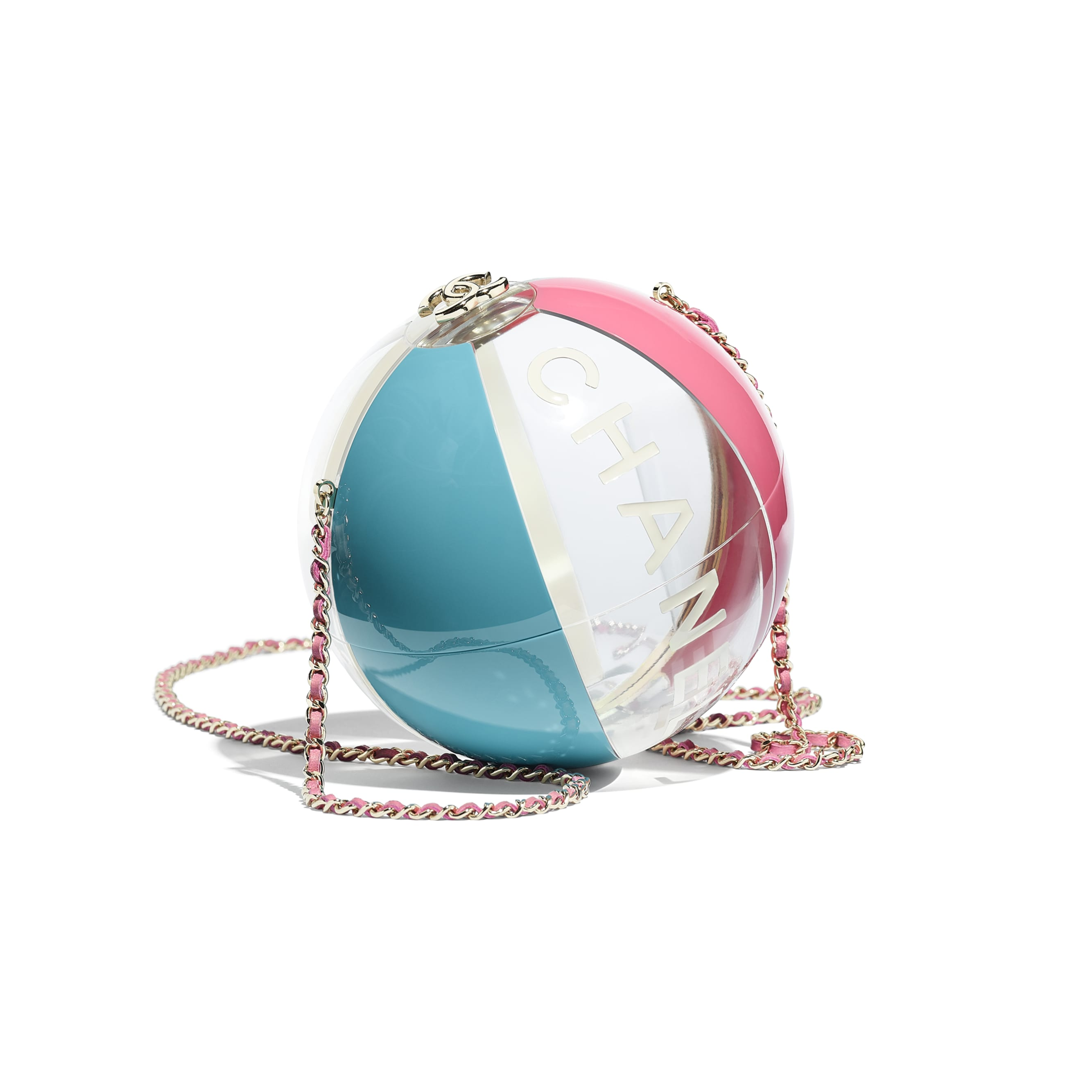 Beach Ball Minaudiere - Turquoise, Pink, White & Transparent - Resin & Gold-Tone Metal - Default view - see standard sized version