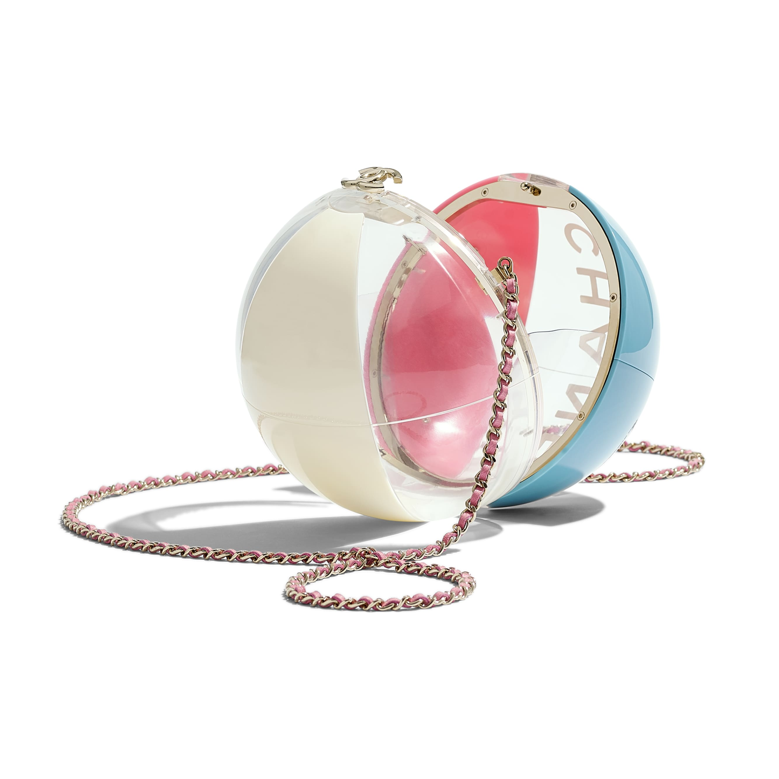 Beach Ball Minaudiere - Turquoise, Pink, White & Transparent - Resin & Gold-Tone Metal - Other view - see standard sized version