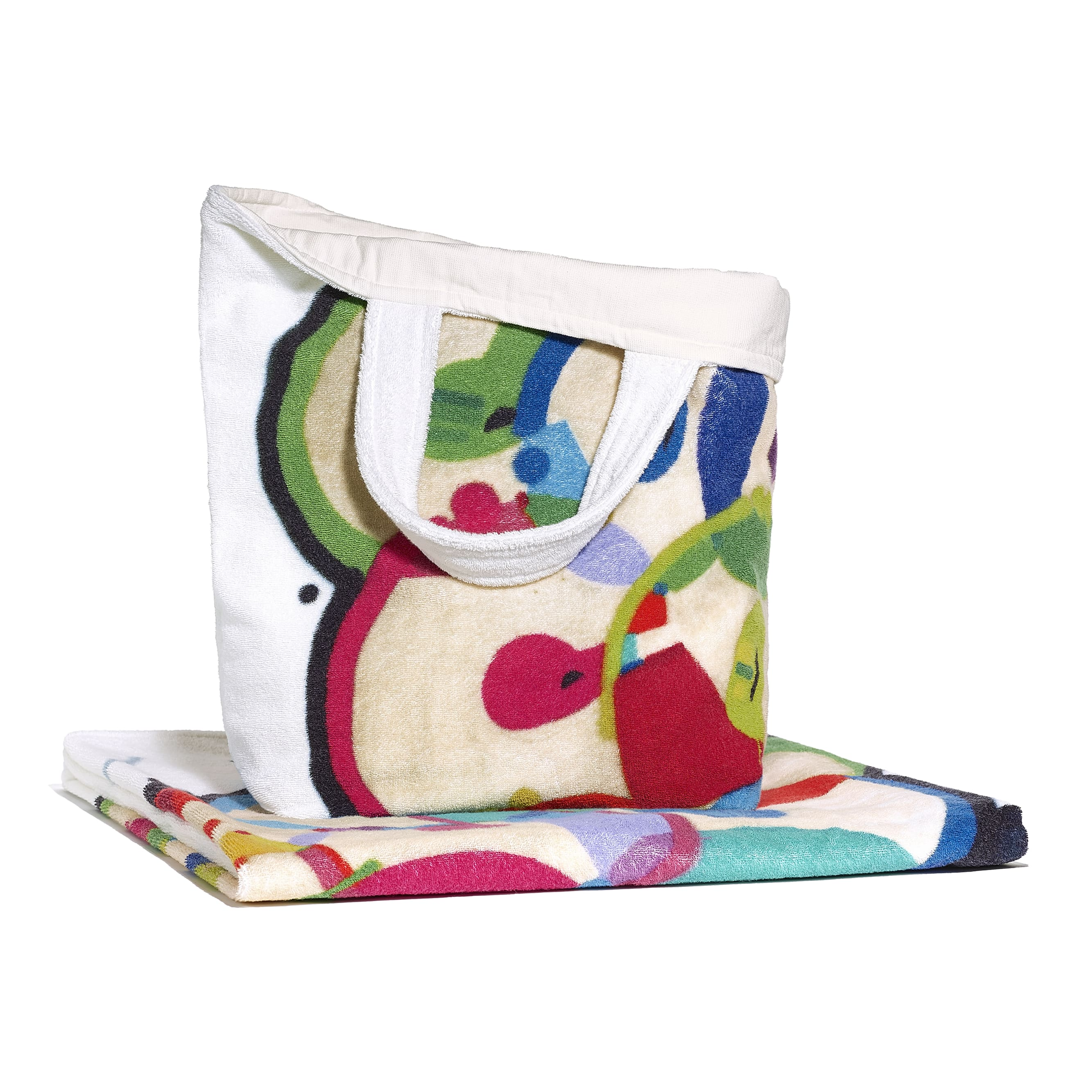 Beachwear Set - Ivory & Multicolour - Cotton - Alternative view - see standard sized version