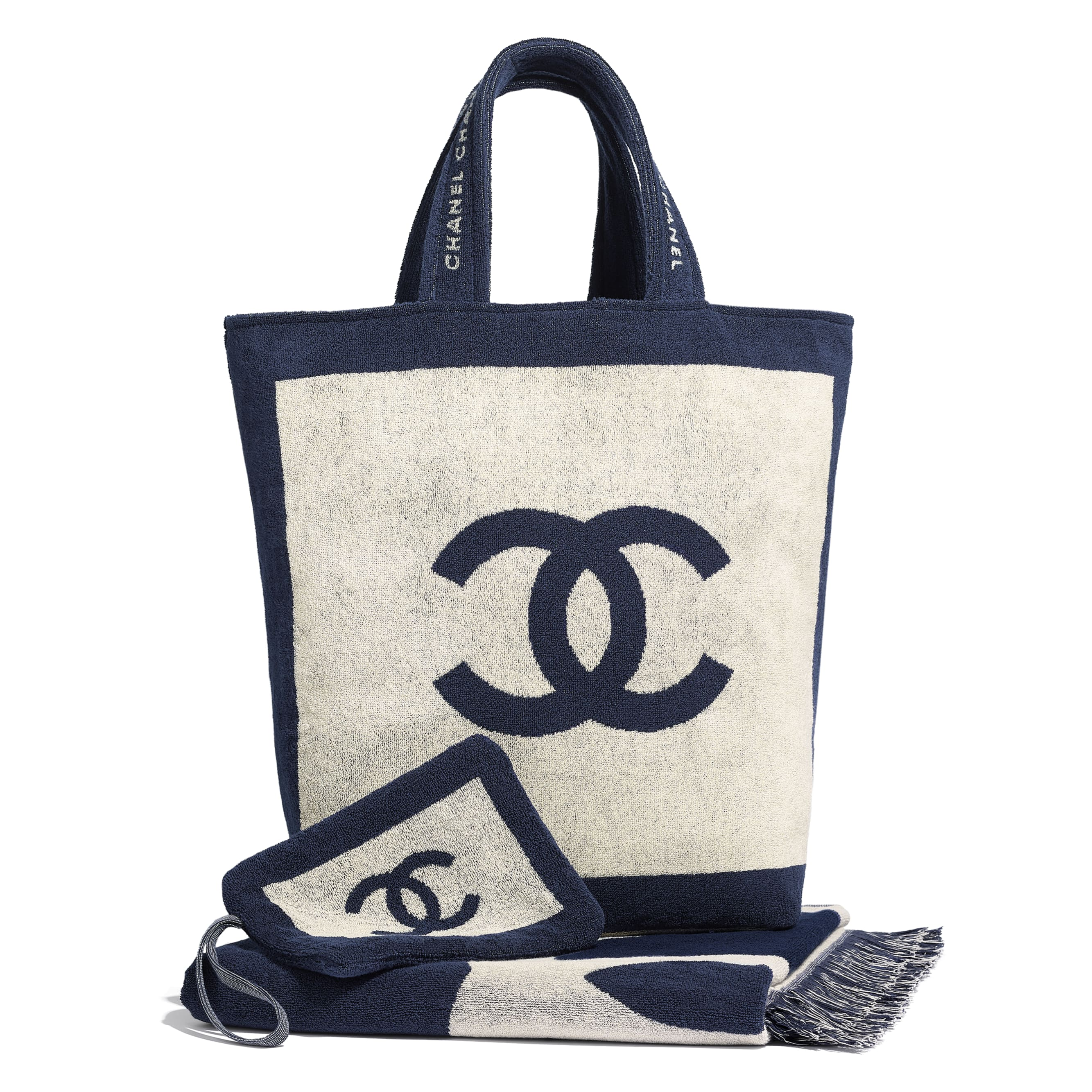 Beachwear Set - Navy Blue & Beige - Cotton - CHANEL - Default view - see standard sized version