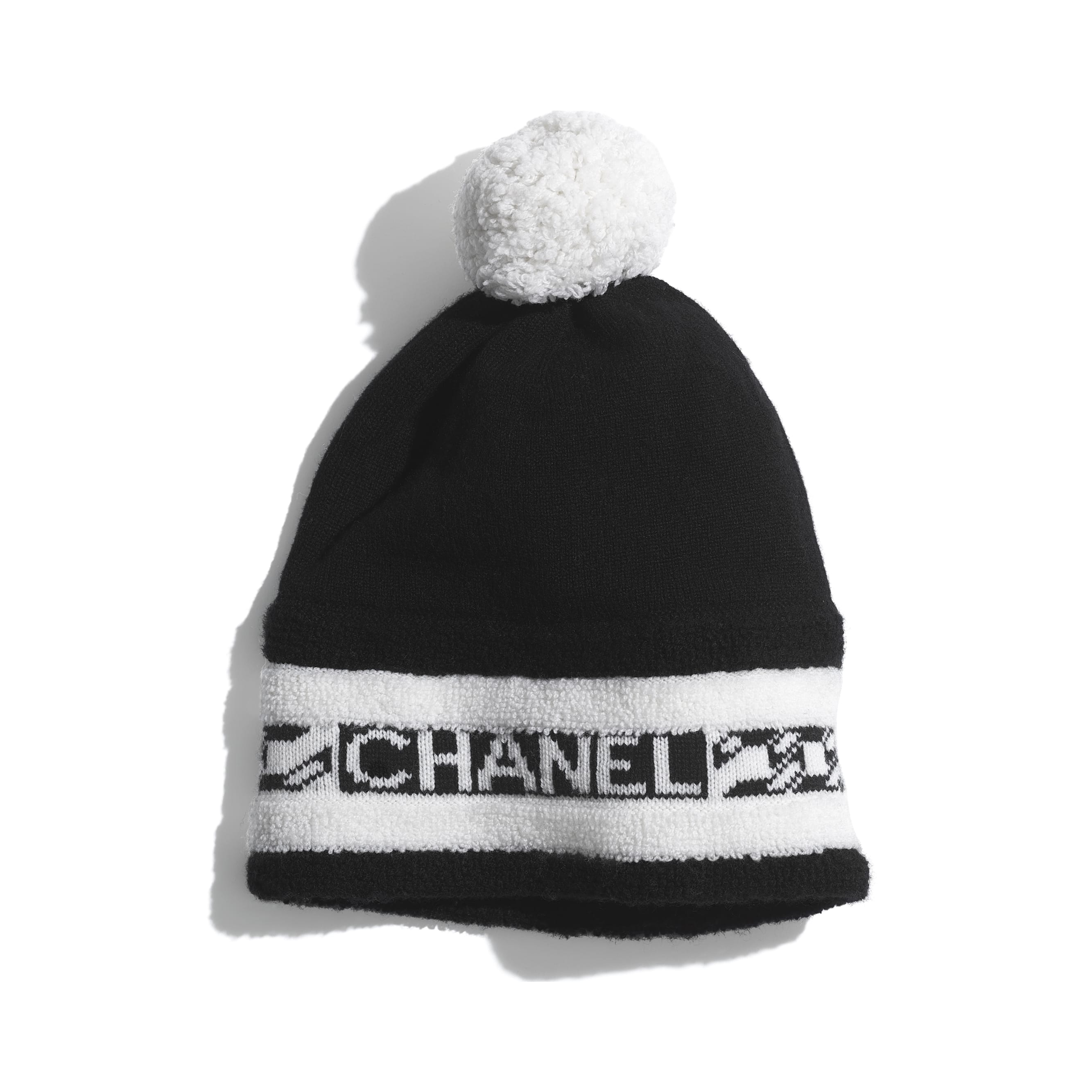 Beanie - Black & Ecru - Cashmere - CHANEL - Default view - see standard sized version