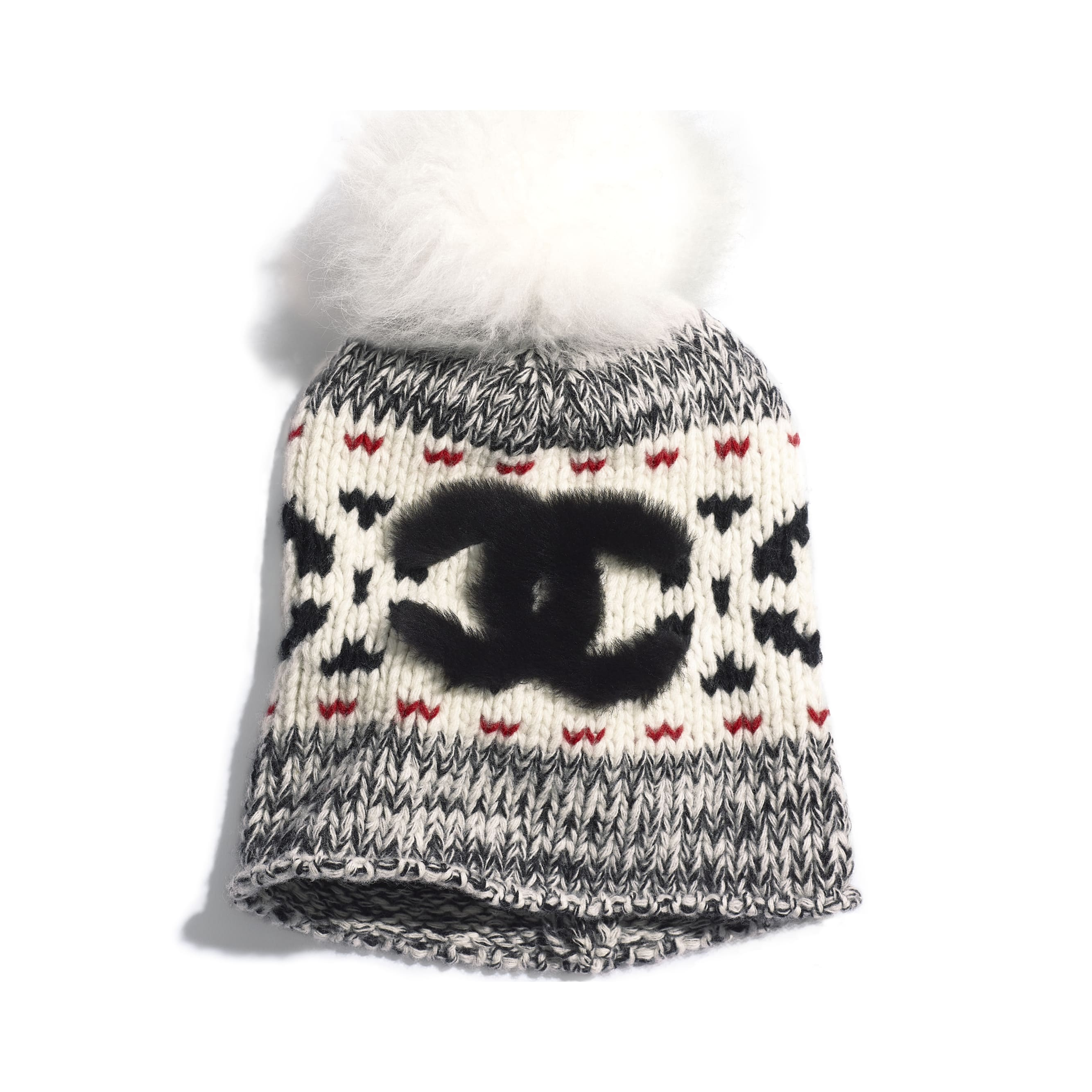 Beanie - Ivory, Black & Red - Wool & Shearling - Default view - see standard sized version