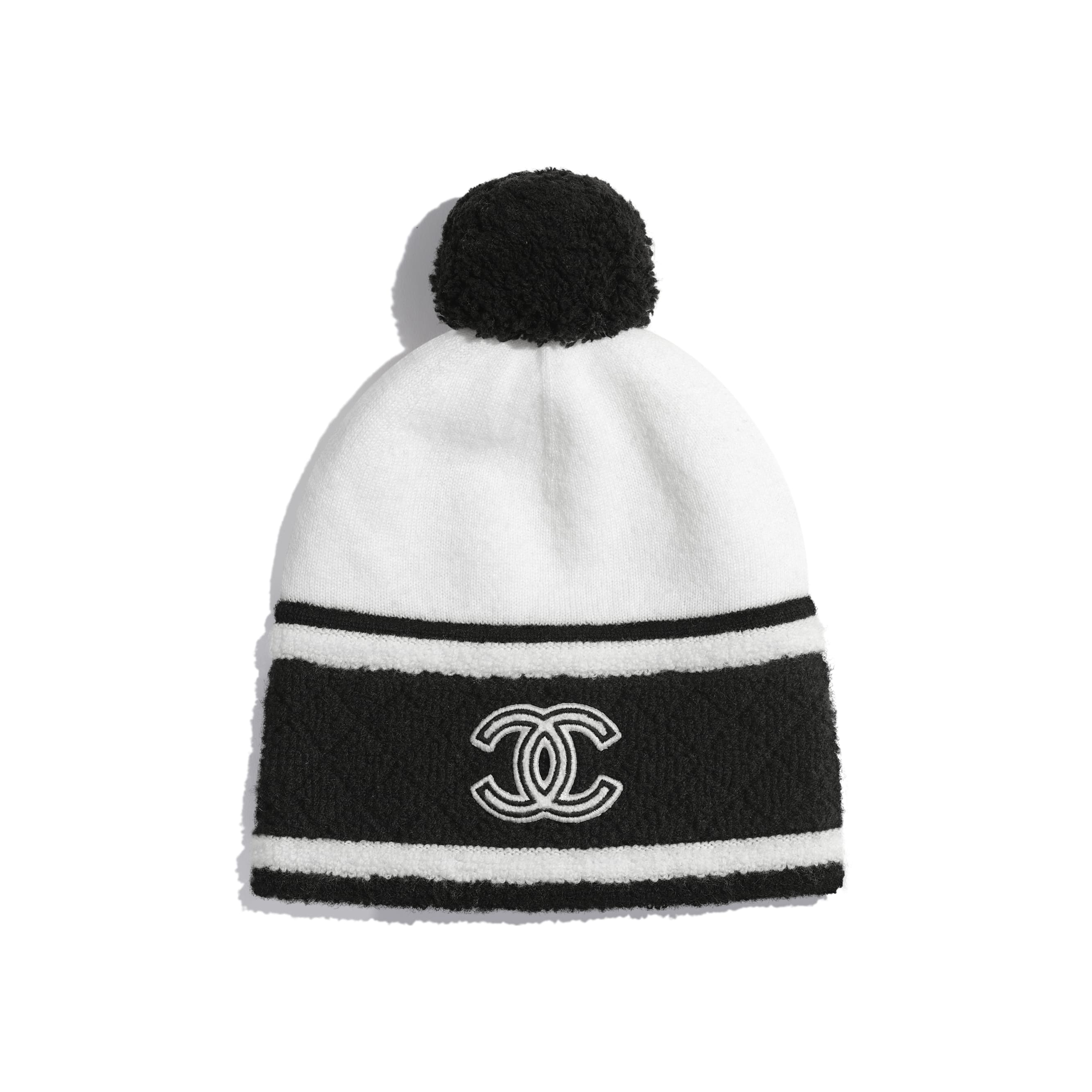Beanie - White & Black - Cashmere - Default view - see standard sized version