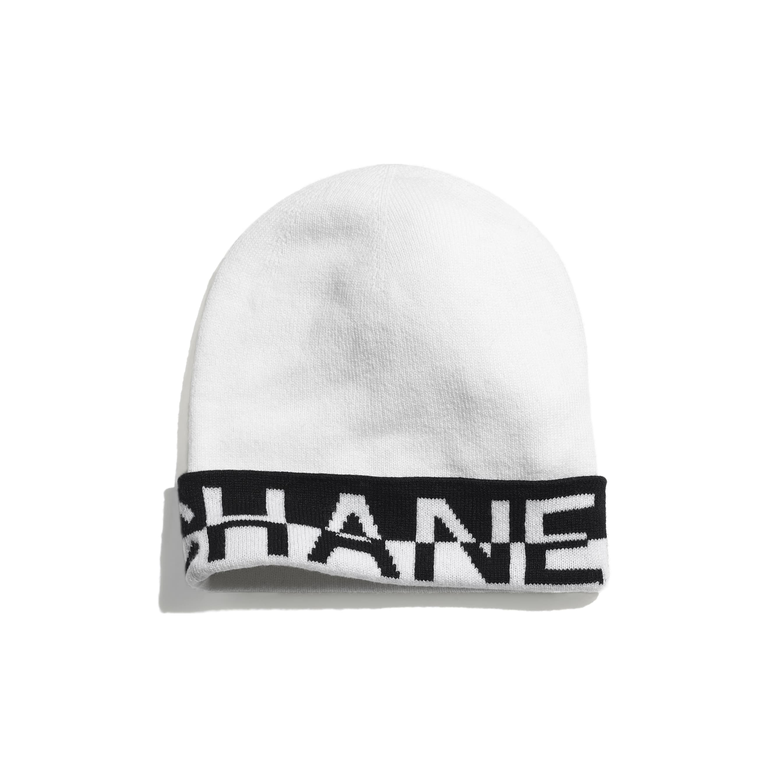 Beanie - White & Black - Cashmere - CHANEL - Default view - see standard sized version