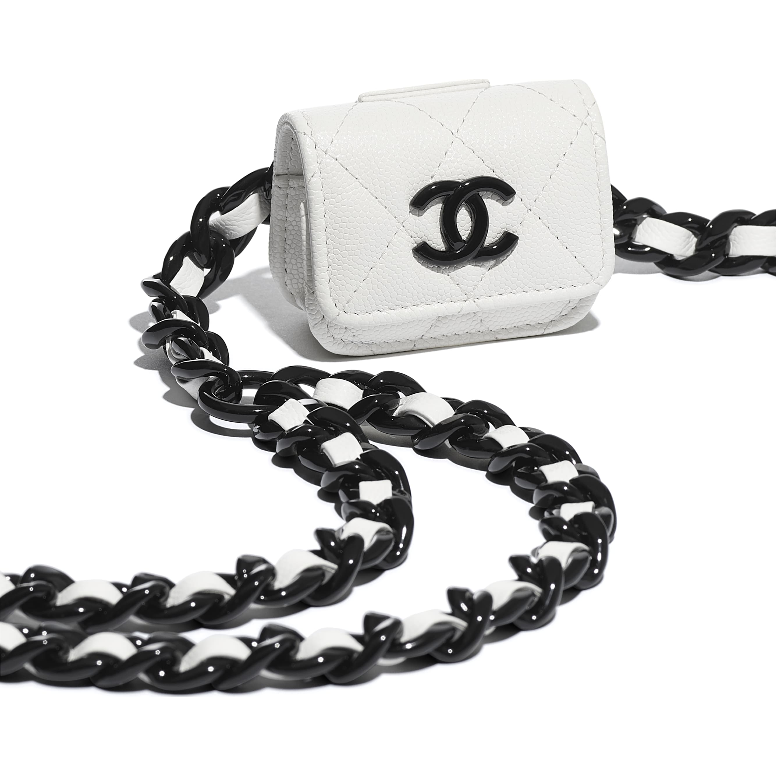 Belt AirPods Pro Holder - White & Black - Grained Calfskin & Lacquered Metal - CHANEL - Extra view - see standard sized version
