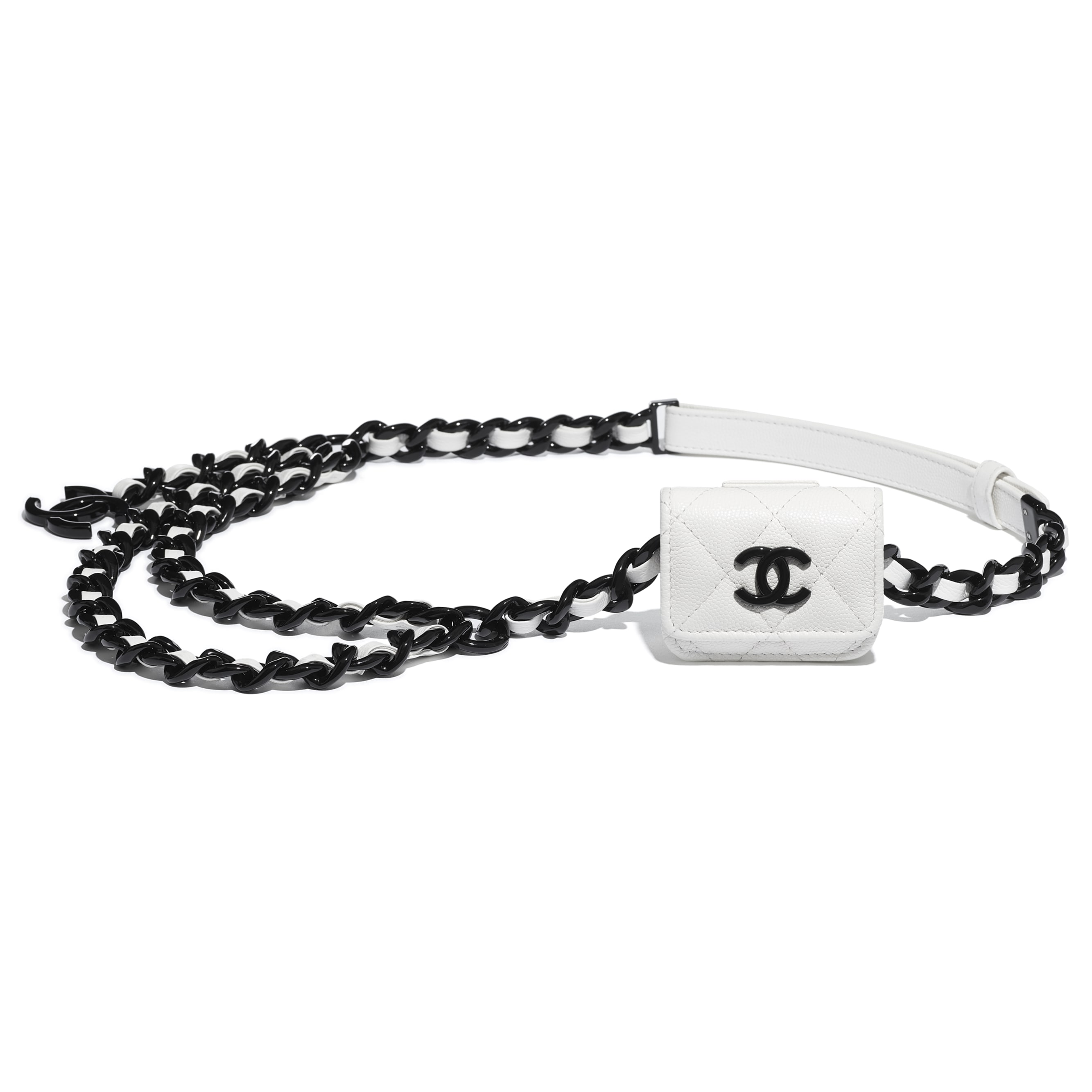 Belt AirPods Pro Holder - White & Black - Grained Calfskin & Lacquered Metal - CHANEL - Other view - see standard sized version