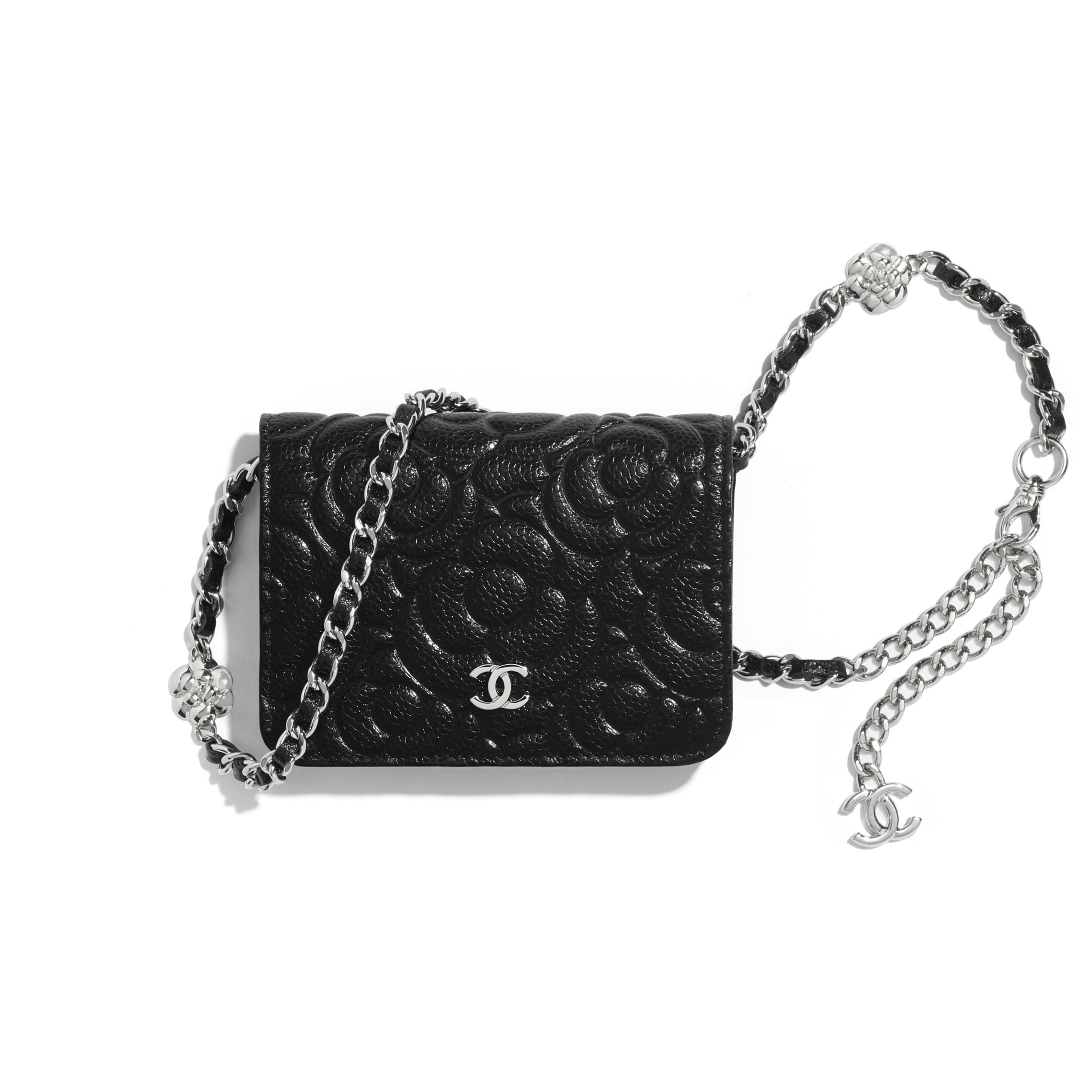 Belt Bag - Black - Grained Calfskin & Silver Metal - CHANEL - Default view - see standard sized version