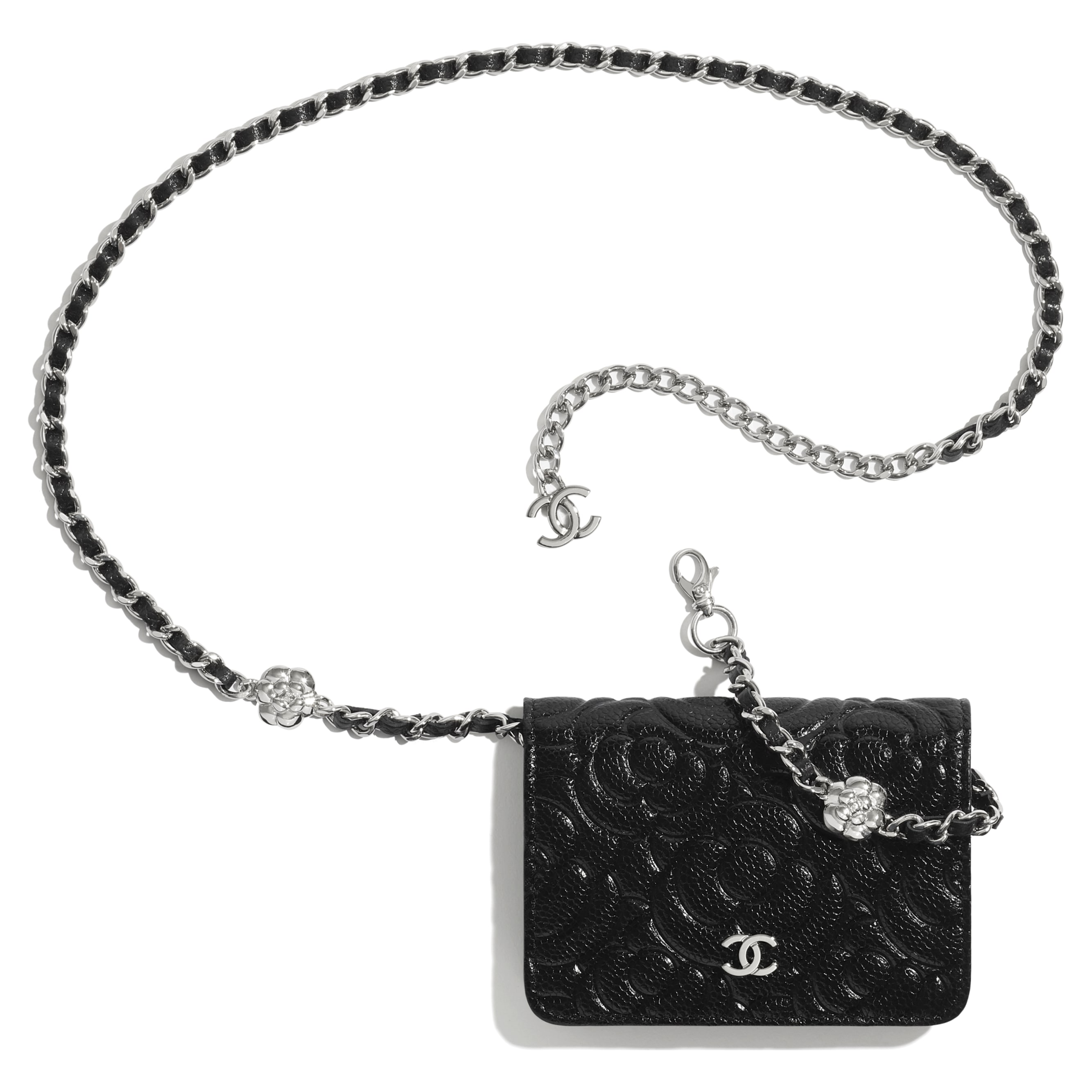 Belt Bag - Black - Grained Calfskin & Silver Metal - CHANEL - Extra view - see standard sized version