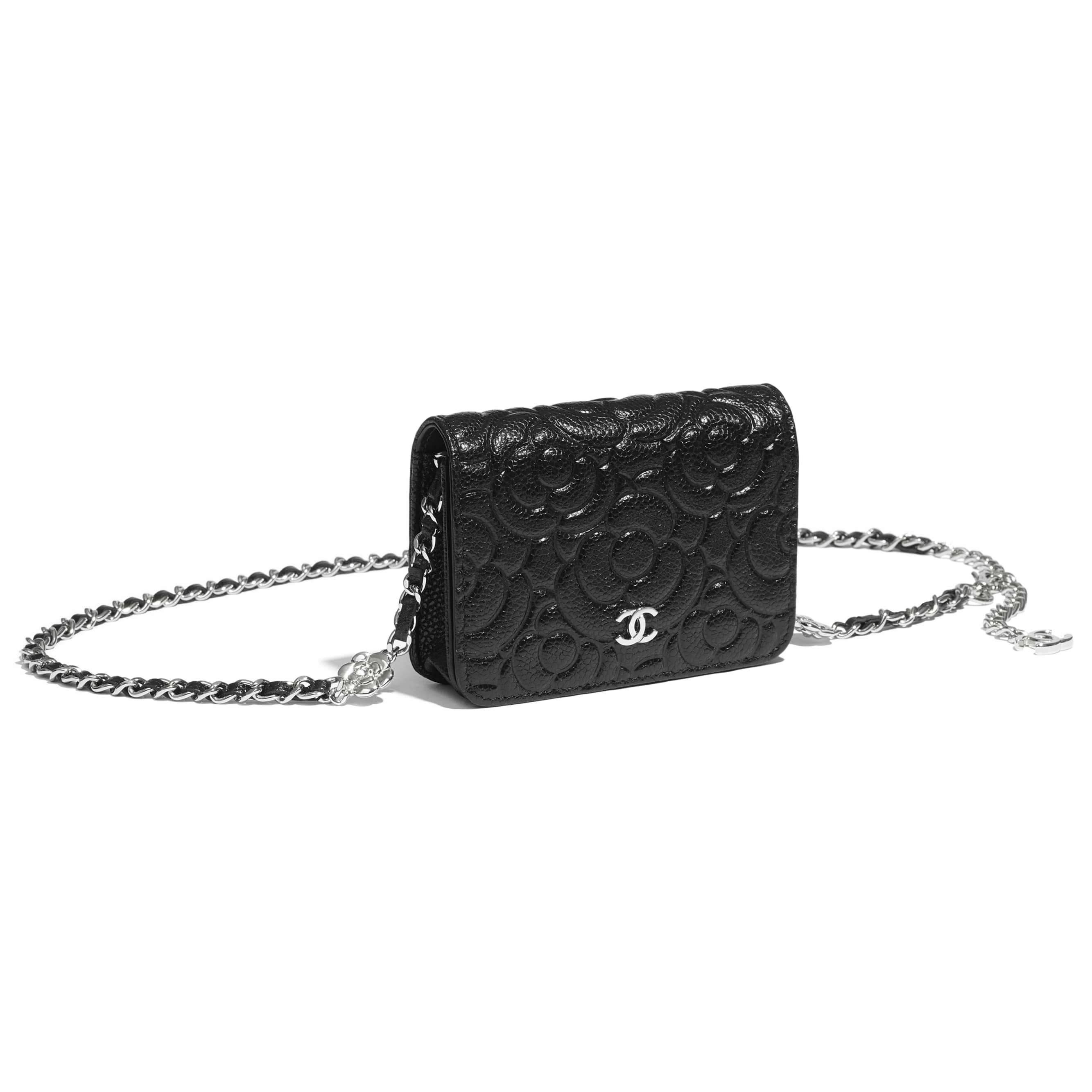 Belt Bag - Black - Grained Calfskin & Silver Metal - CHANEL - Other view - see standard sized version