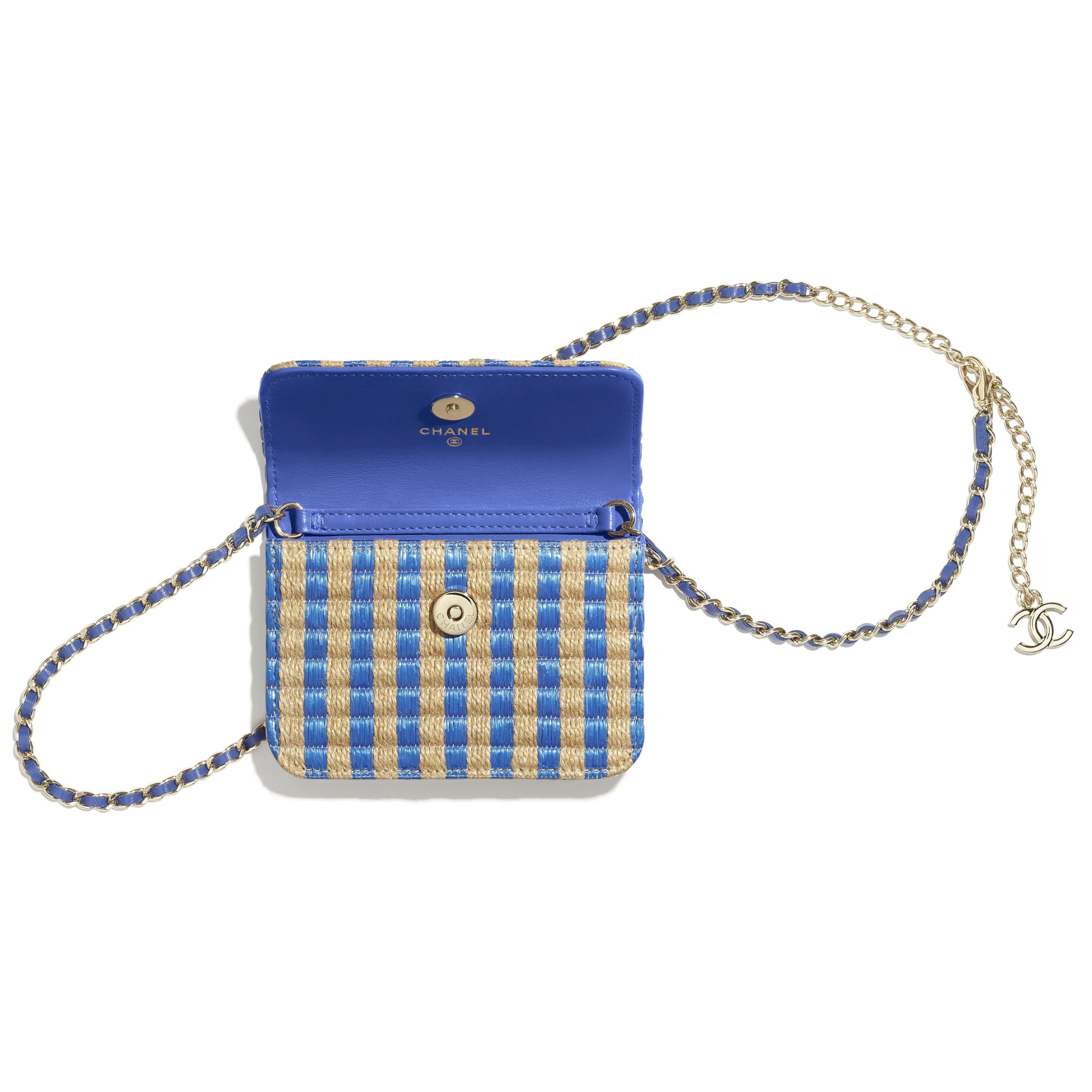 Belt Bag - Blue & Beige - Raffia, Jute Thread & Gold-Tone Metal - CHANEL - Alternative view - see standard sized version