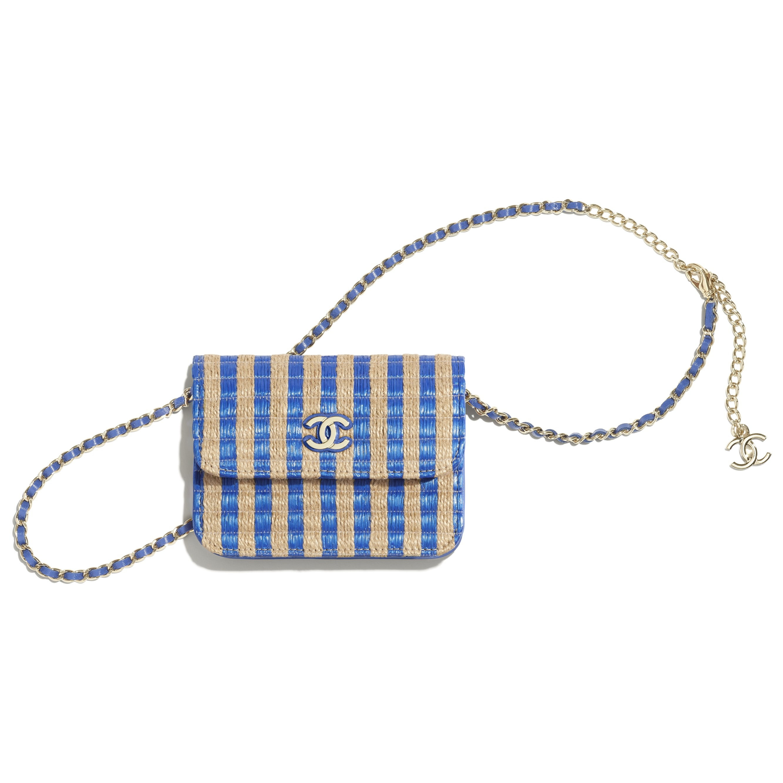 Belt Bag - Blue & Beige - Raffia, Jute Thread & Gold-Tone Metal - CHANEL - Default view - see standard sized version