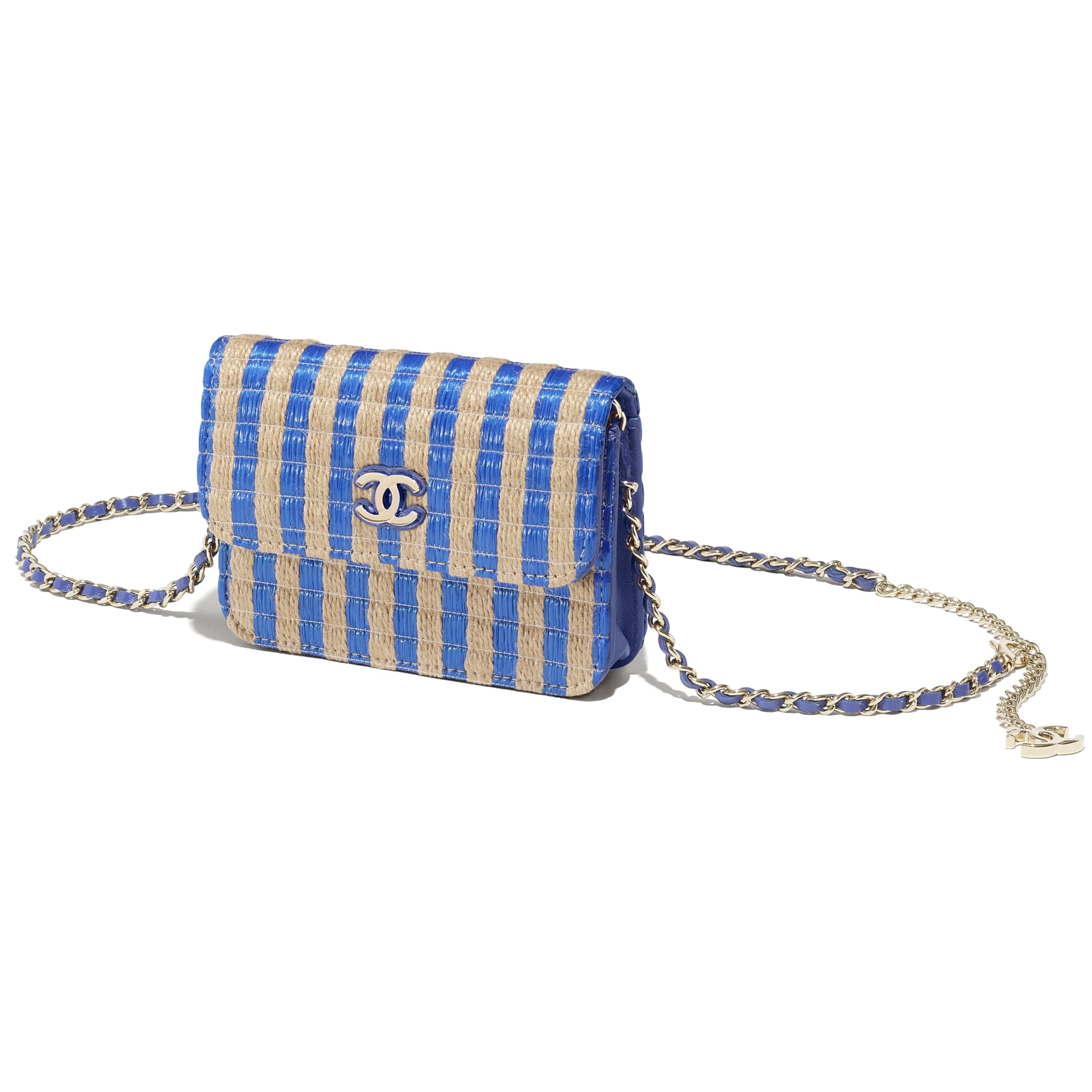 Belt Bag - Blue & Beige - Raffia, Jute Thread & Gold-Tone Metal - CHANEL - Extra view - see standard sized version