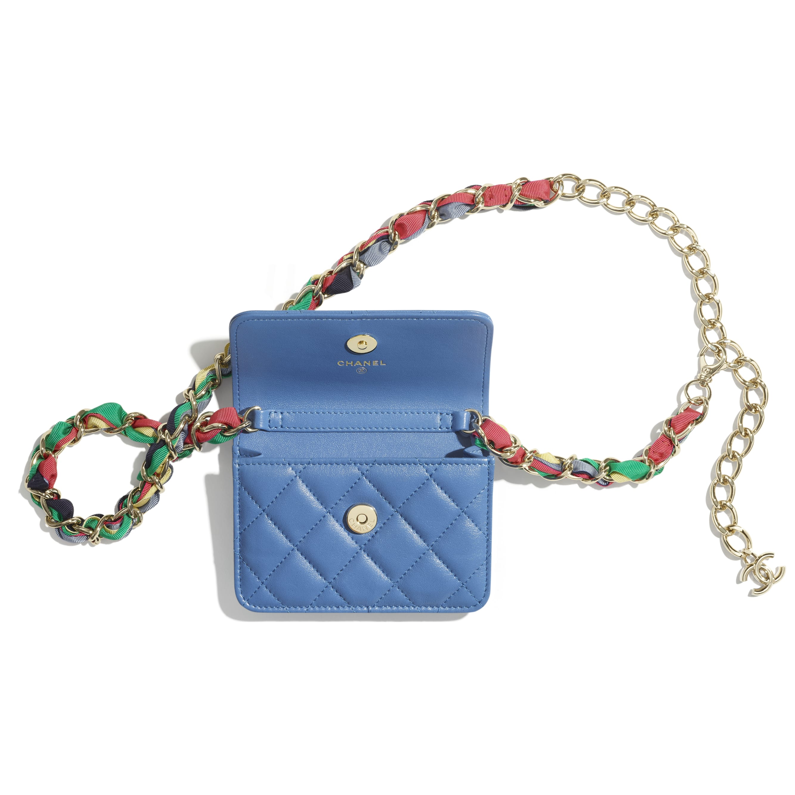 Belt Bag - Blue - Shiny Lambskin, Ribbon & Gold-Tone Metal - CHANEL - Alternative view - see standard sized version