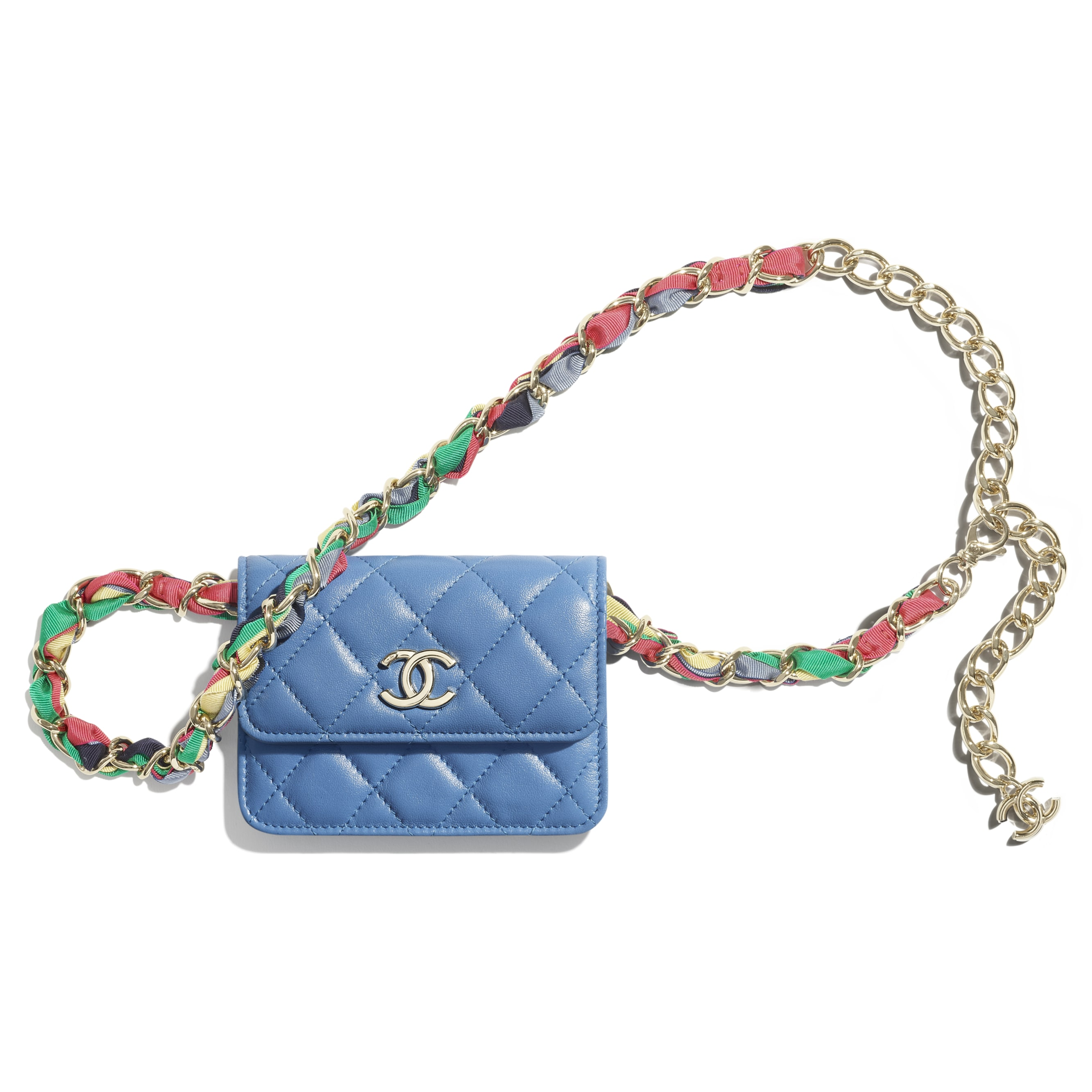 Belt Bag - Blue - Shiny Lambskin, Ribbon & Gold-Tone Metal - CHANEL - Default view - see standard sized version