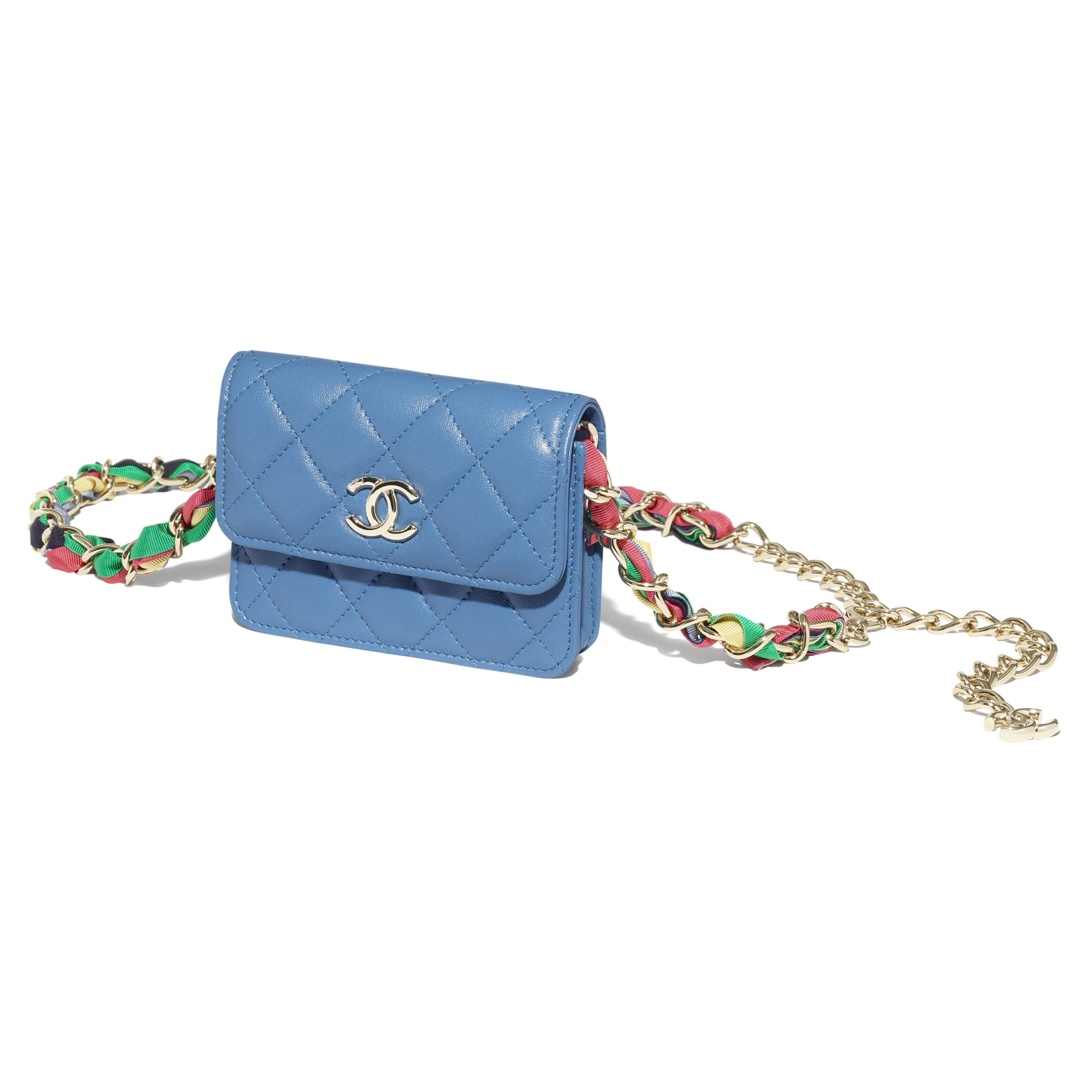 Belt Bag - Blue - Shiny Lambskin, Ribbon & Gold-Tone Metal - CHANEL - Extra view - see standard sized version