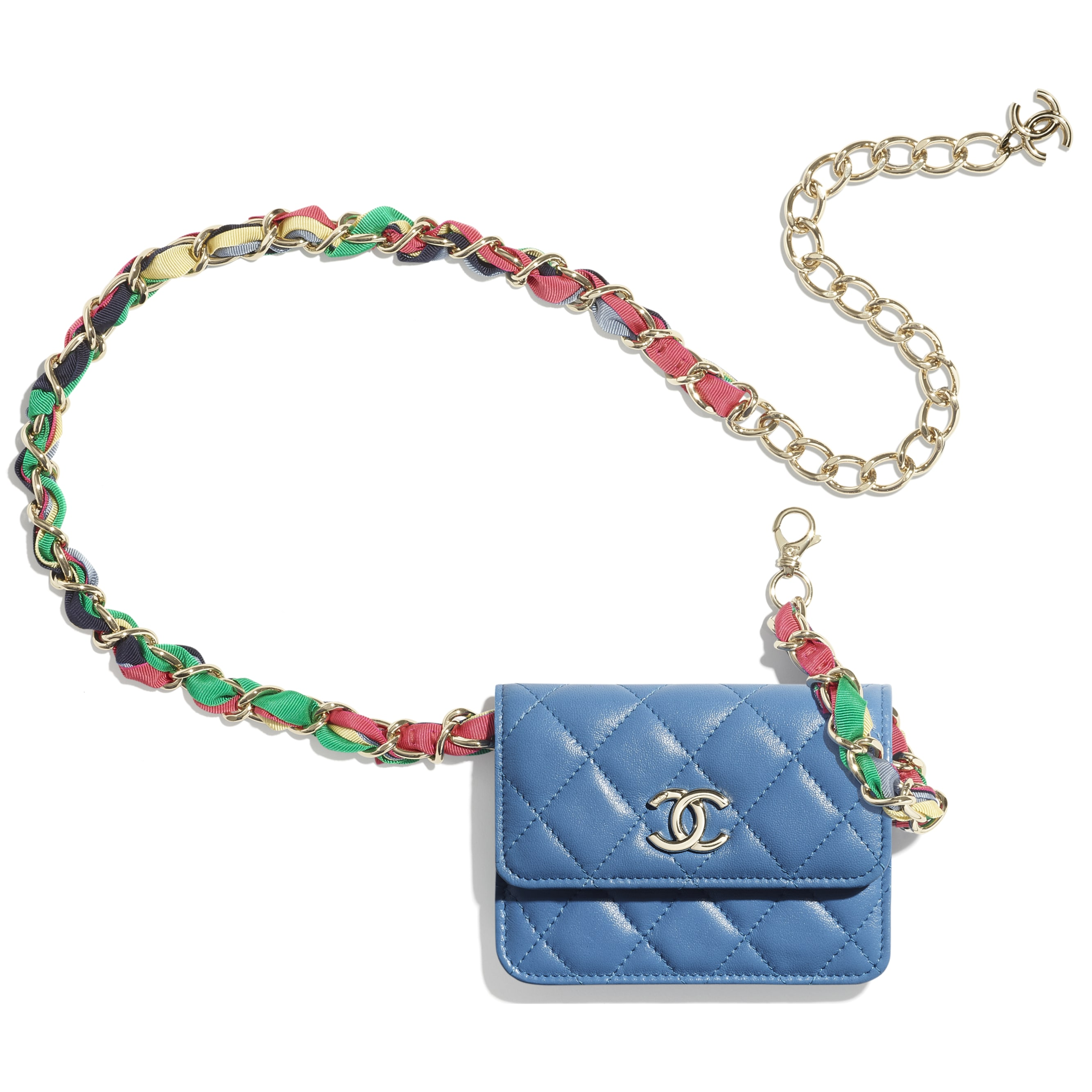 Belt Bag - Blue - Shiny Lambskin, Ribbon & Gold-Tone Metal - CHANEL - Other view - see standard sized version