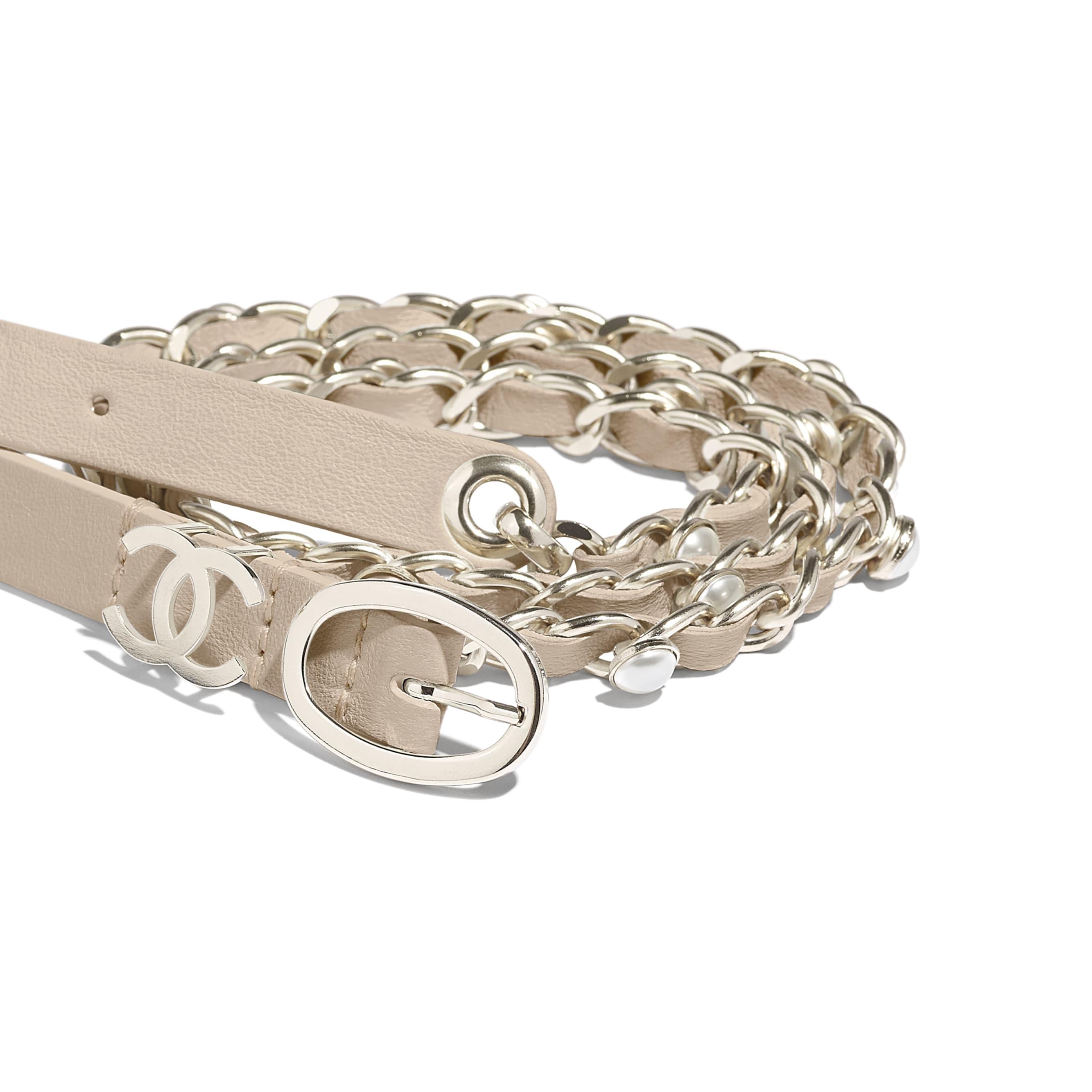 Belt - Beige - Lambskin, Gold-Tone Metal & Glass Pearls - Alternative view - see standard sized version