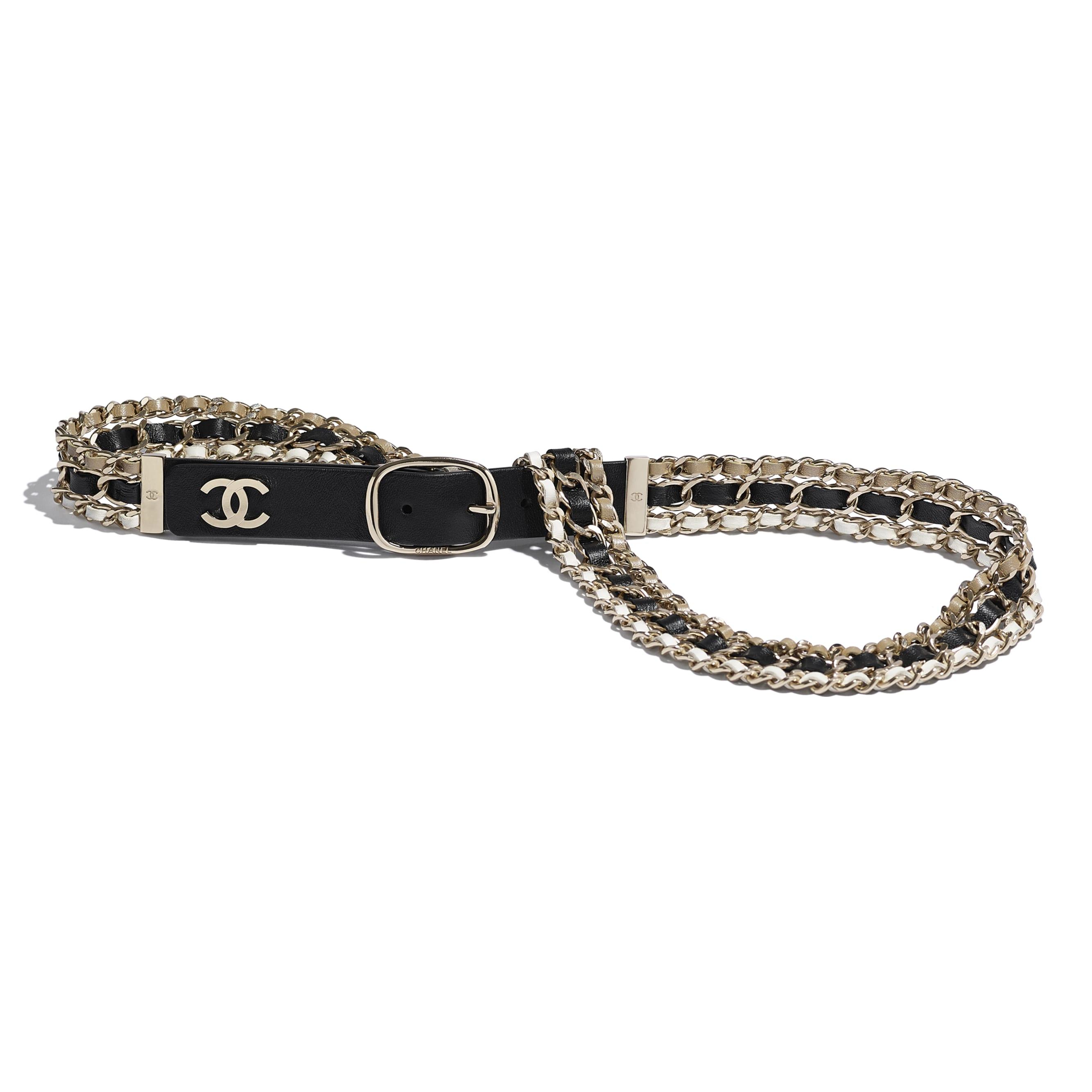Belt - Black, Beige & White - Lambskin - Default view - see standard sized version