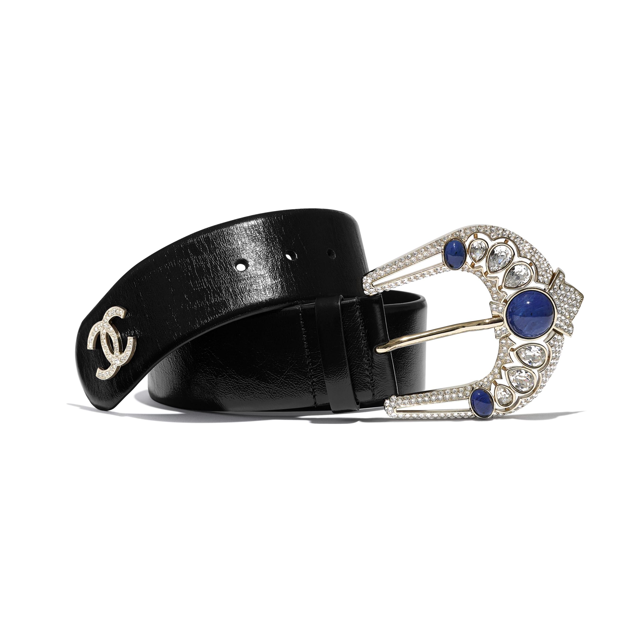 Belt - Black & Blue - Calfskin, Gold-Tone Metal, Strass & Resin - Default view - see standard sized version