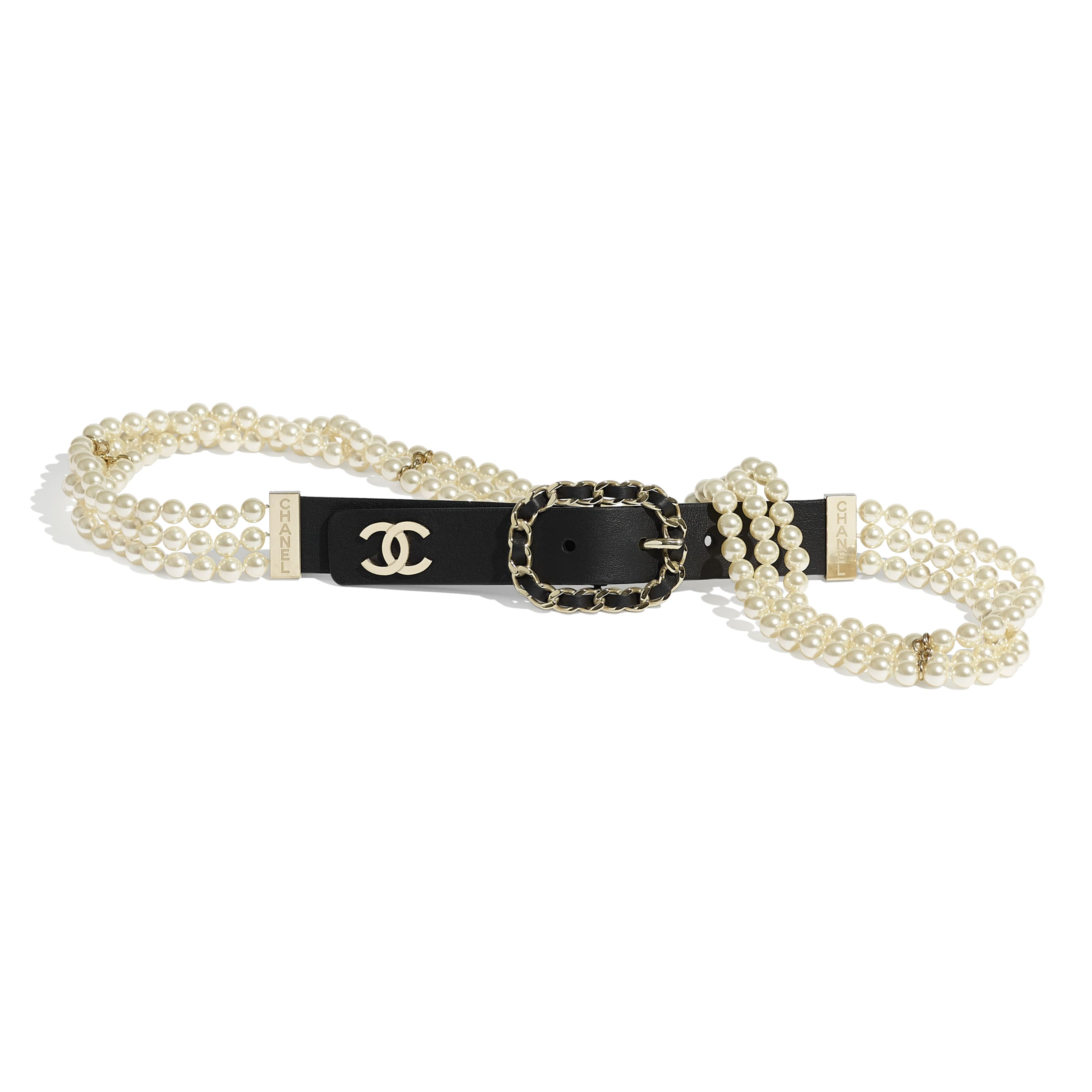 Belt - Black - Calfskin, Glass Pearls & Gold-Tone Metal - CHANEL - Default view - see standard sized version