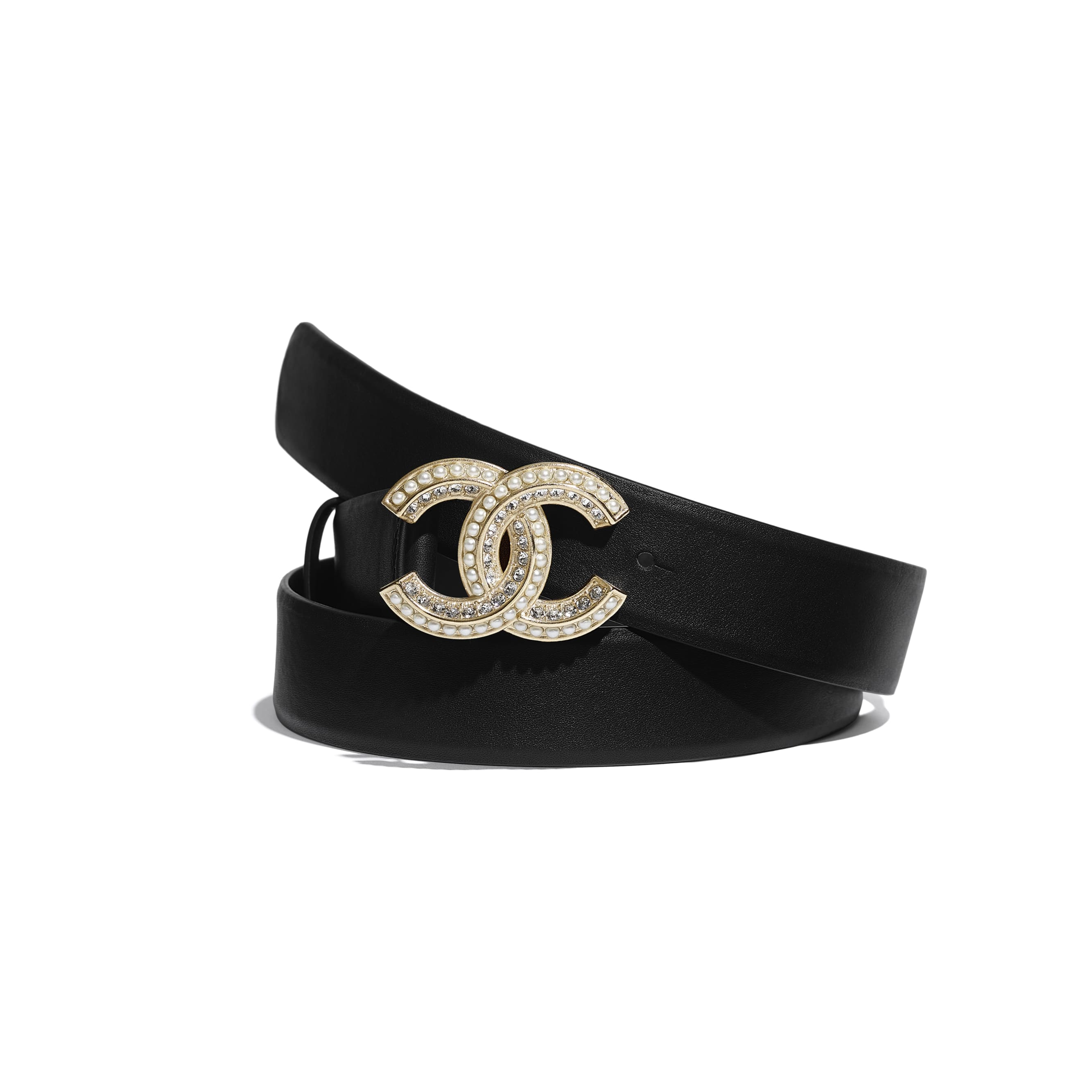 Belt - Black - Calfskin, Glass Pearls, Diamante & Gold-Tone Metal - CHANEL - Default view - see standard sized version