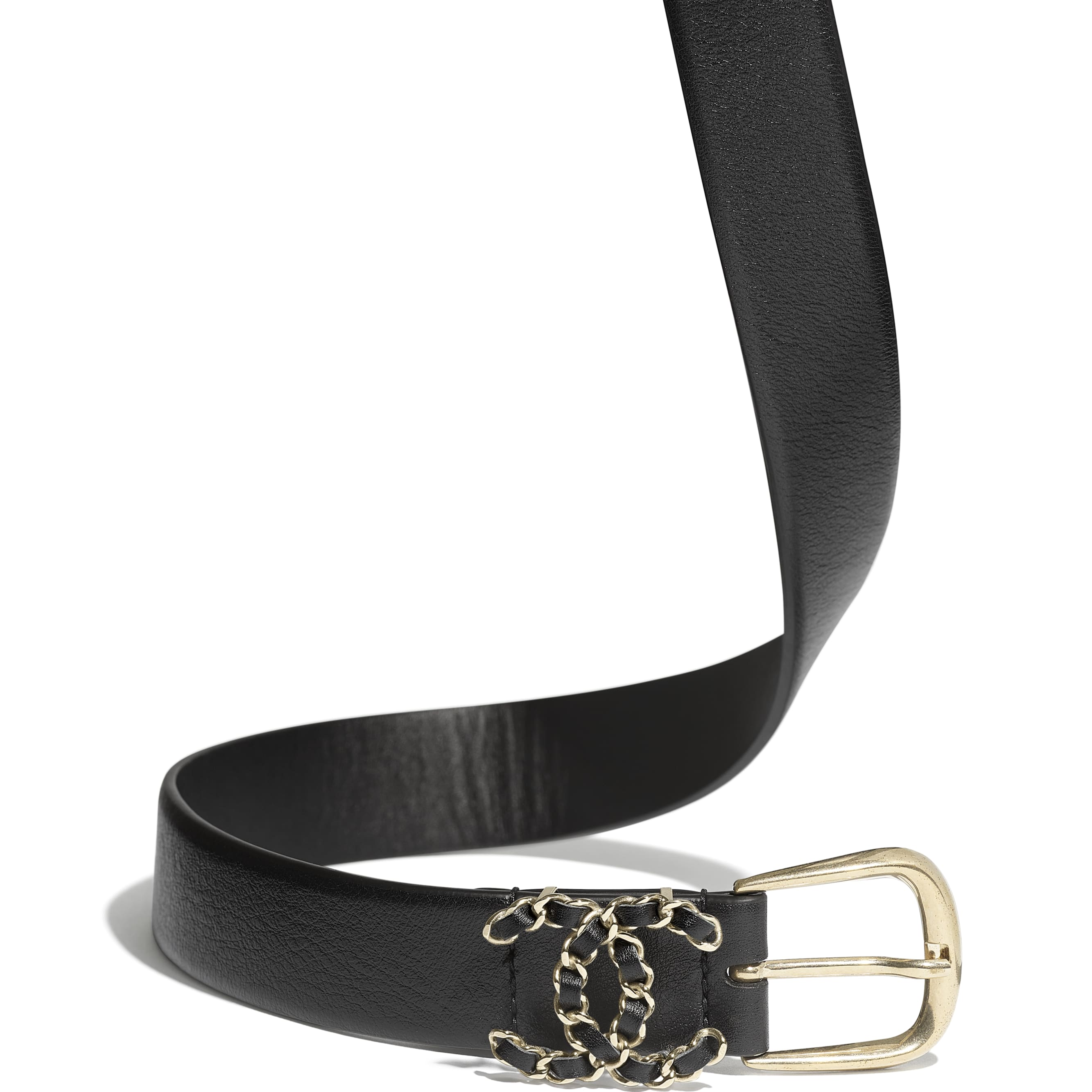 Belt - Black - Calfskin & Gold-Tone Metal - CHANEL - Alternative view - see standard sized version