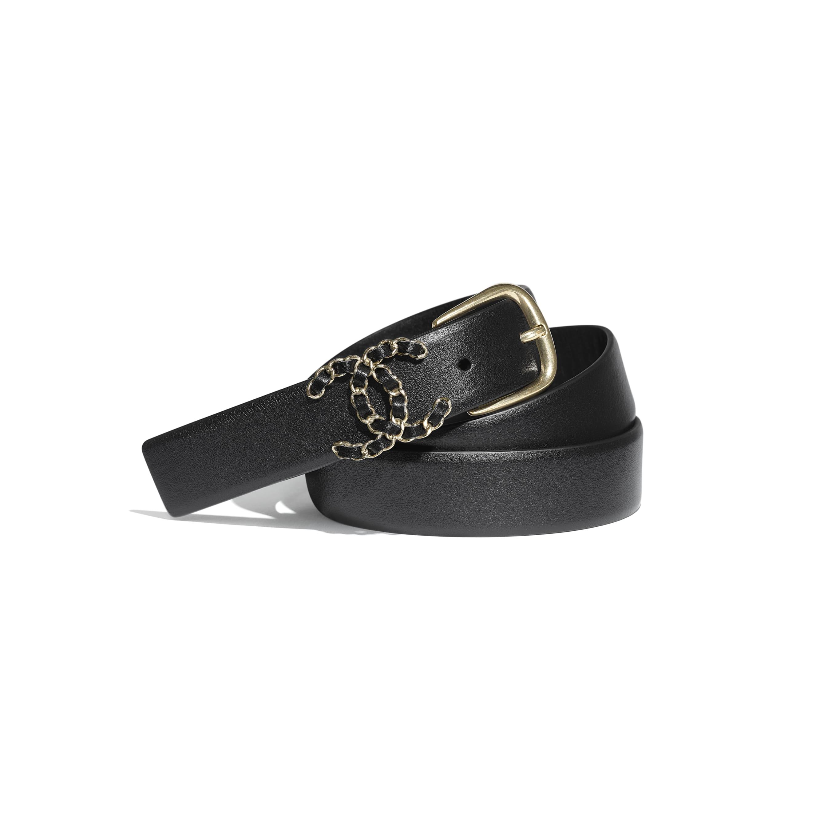 Belt - Black - Calfskin & Gold-Tone Metal - CHANEL - Default view - see standard sized version