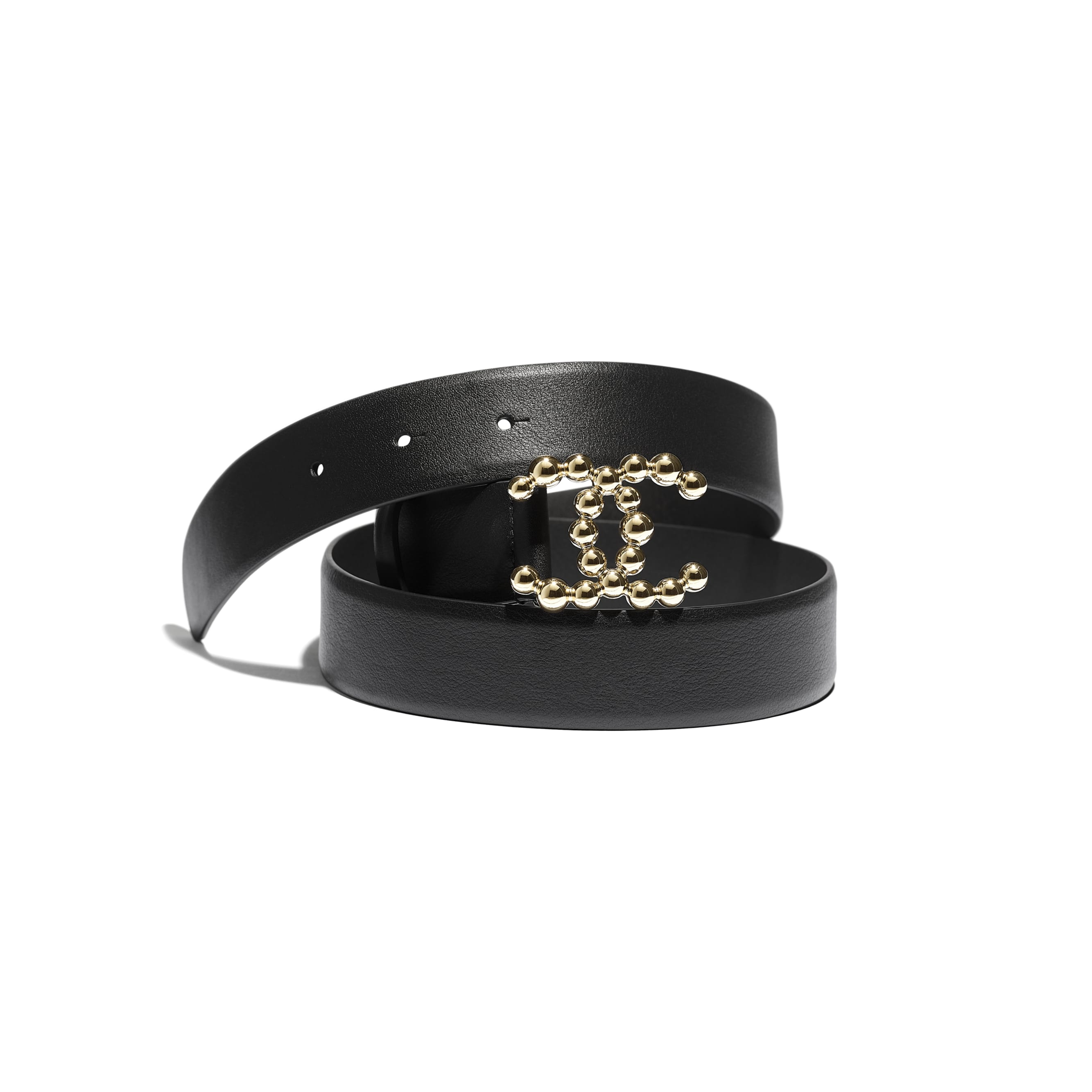 Belt - Black - Calfskin & Gold-Tone Metal - CHANEL - Default view - see standard sized version