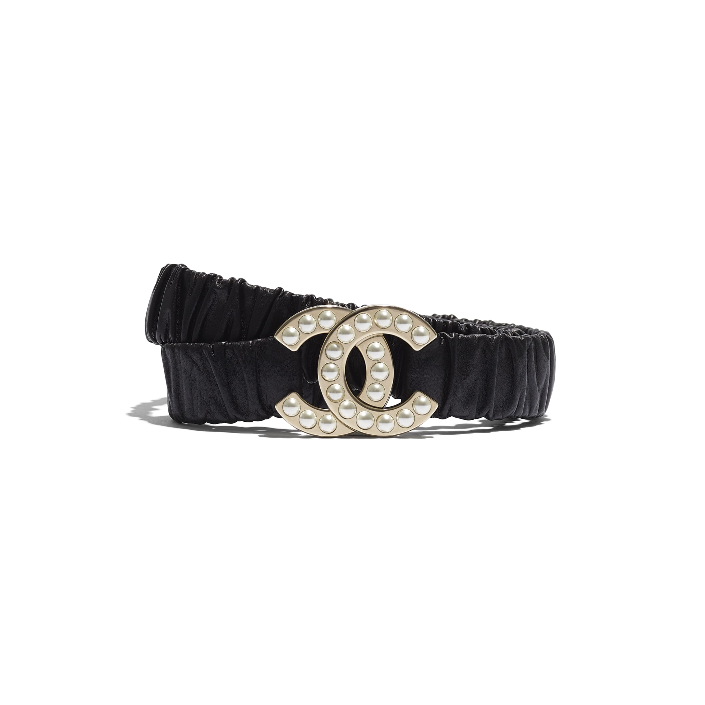 Belt - Black - Calfskin, Gold-Tone Metal & Glass Pearls - Default view - see standard sized version