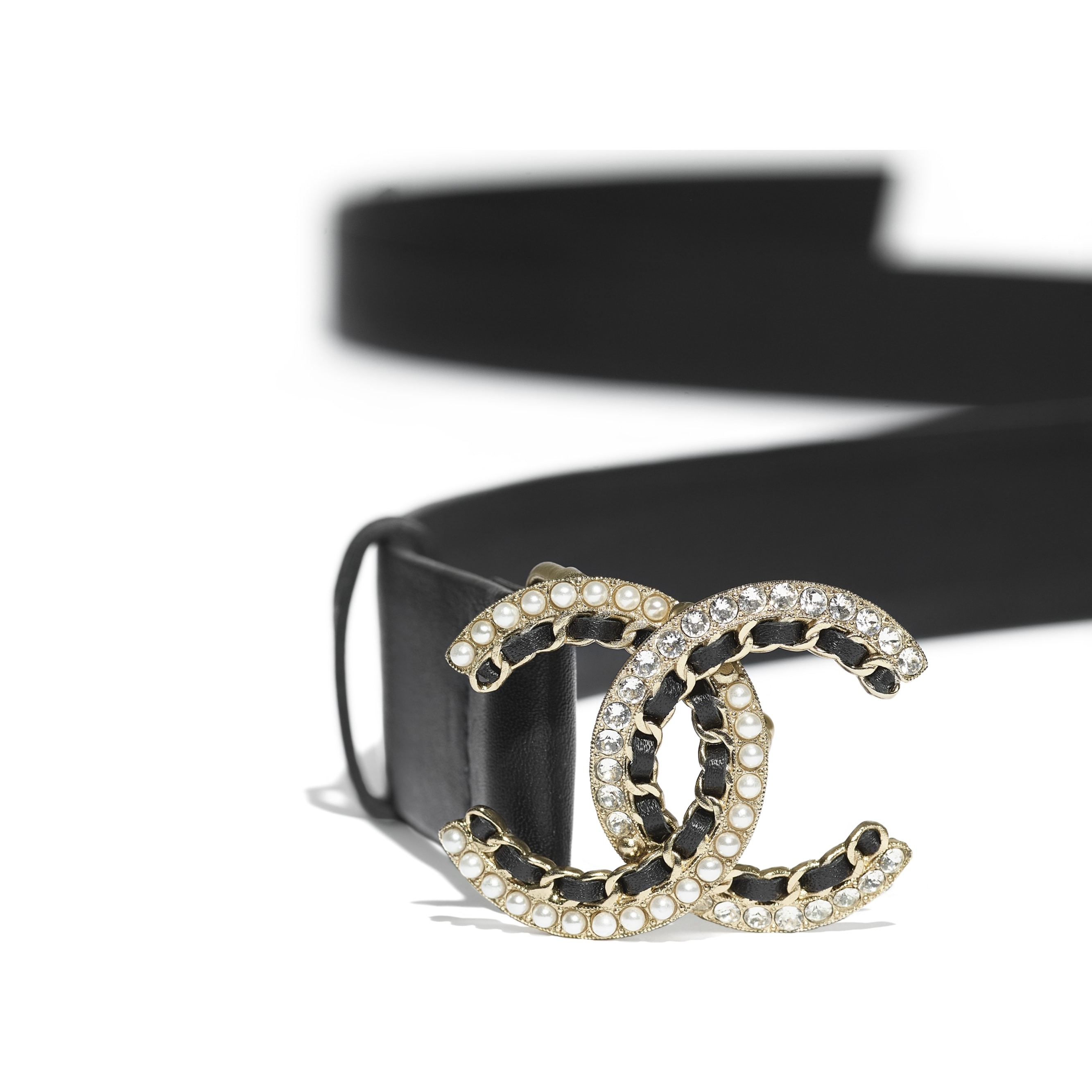 Belt - Black - Calfskin, Gold-Tone Metal, Glass Pearls & Strass - CHANEL - Alternative view - see standard sized version