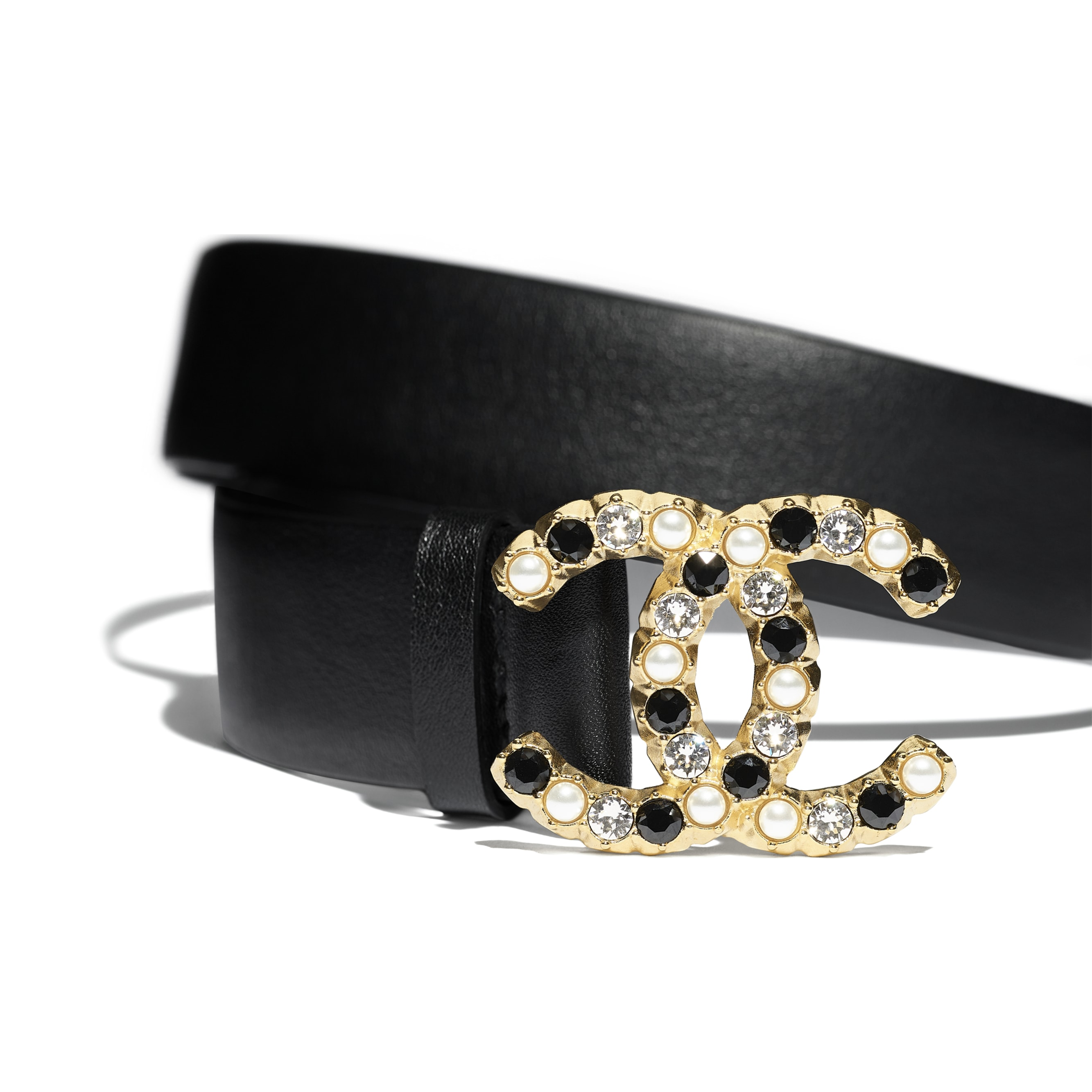 Belt - Black - Calfskin, Gold-Tone Metal, Glass Pearls & Strass - CHANEL - Alternative view - see standard sized version