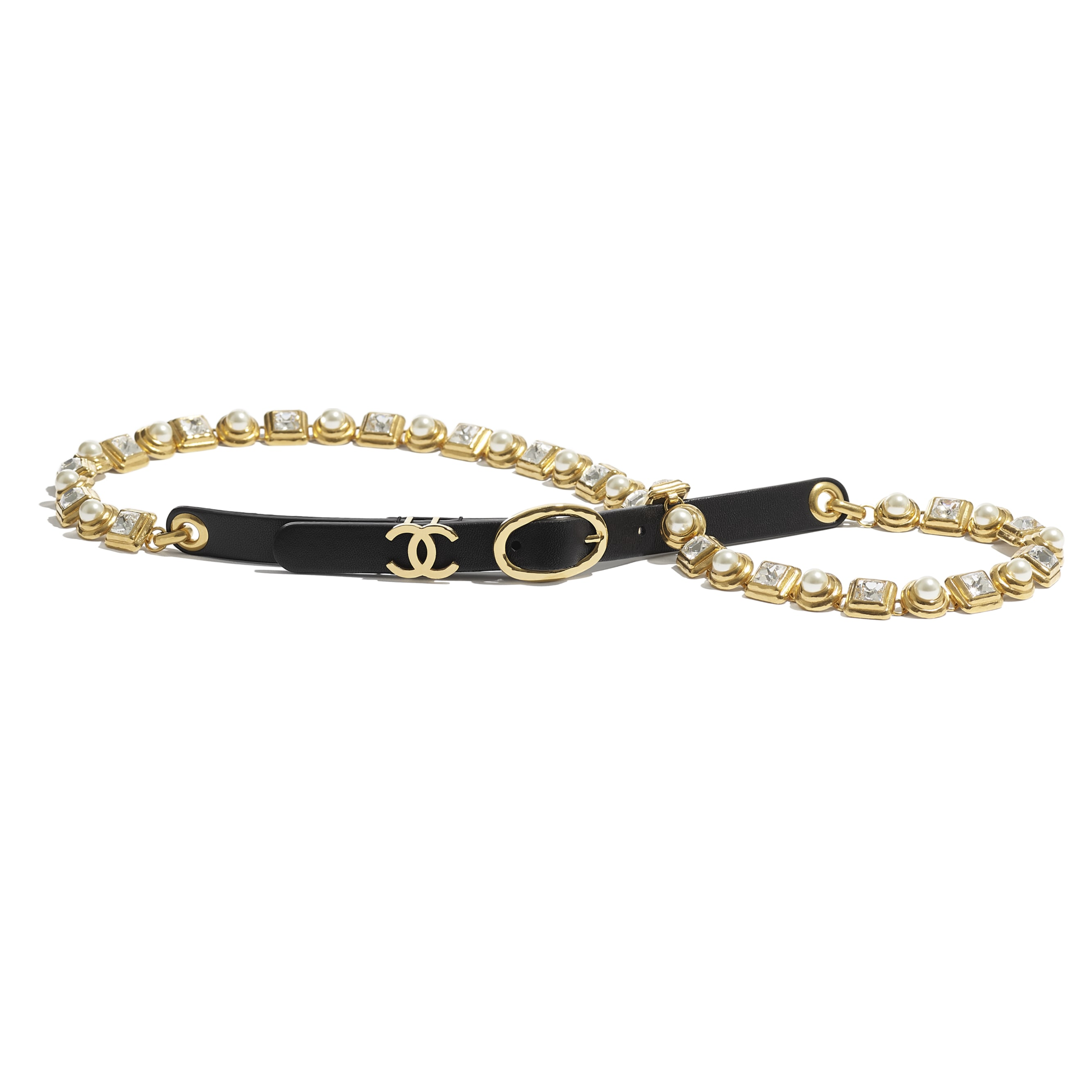 Belt - Black - Calfskin, Gold-Tone Metal, Glass Pearls & Strass - CHANEL - Default view - see standard sized version