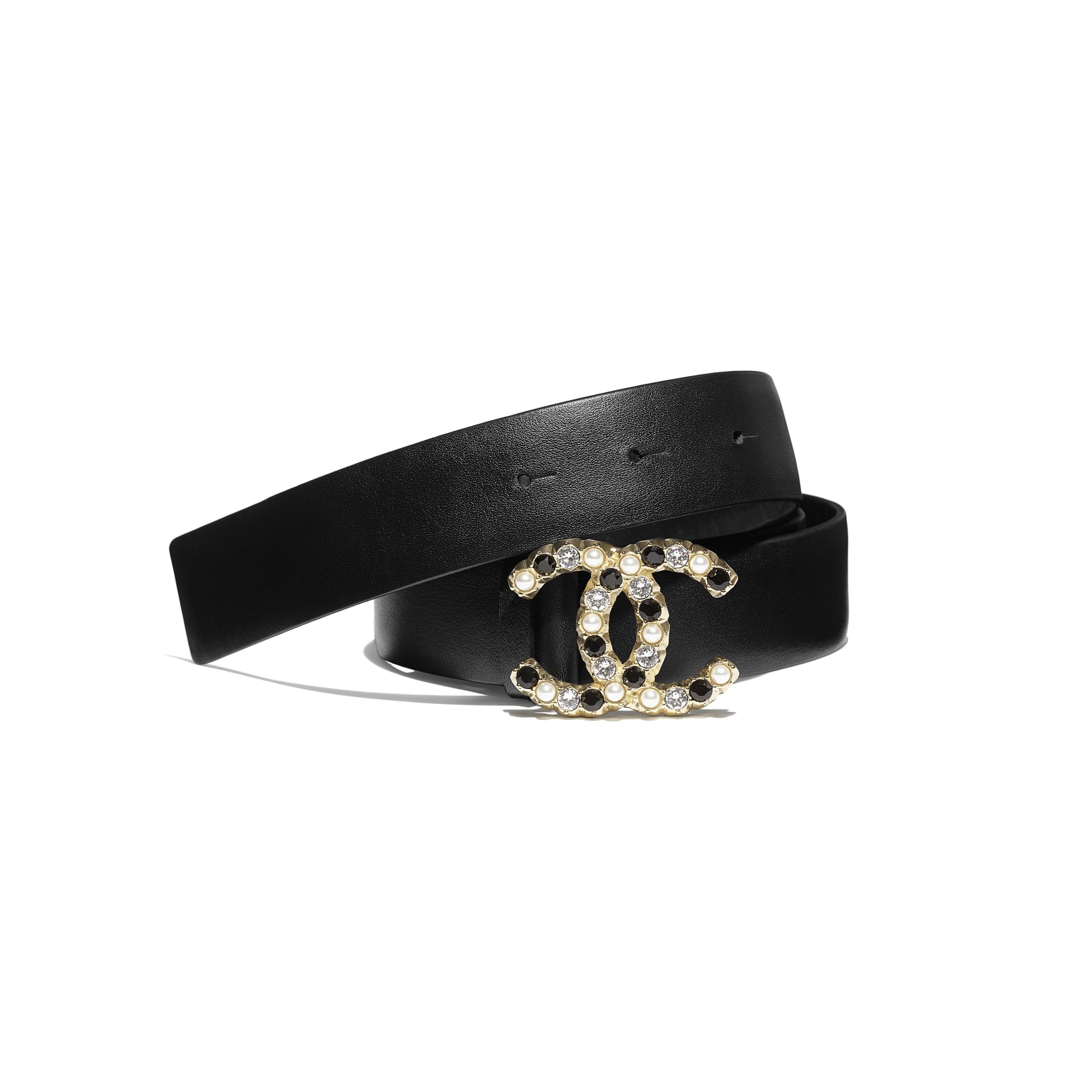Belt - Black - Calfskin, Gold-Tone Metal, Glass Pearls & Strass - CHANEL - Default view - see standard sized version