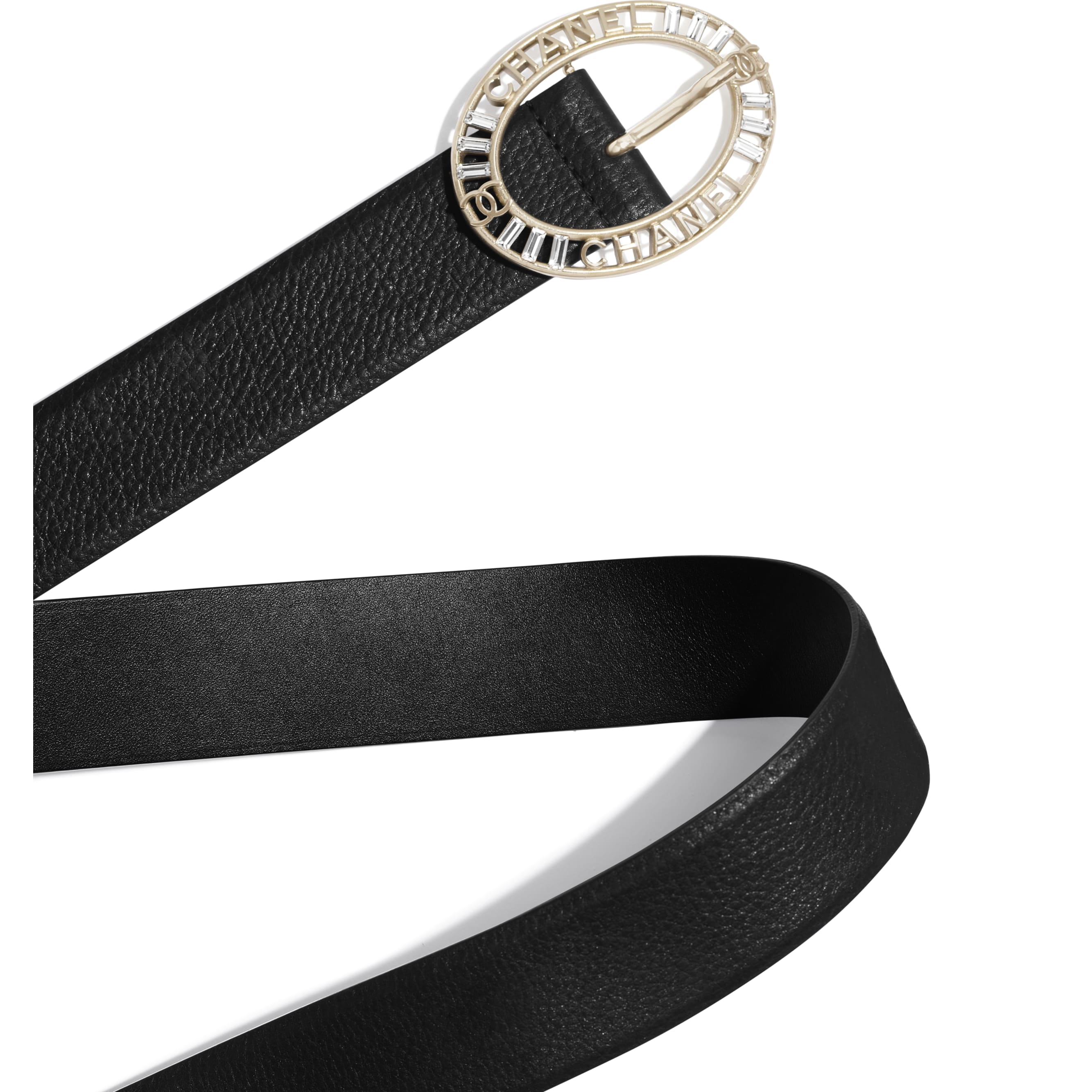 Belt - Black - Calfskin, Gold-Tone Metal & Diamanté - Alternative view - see standard sized version