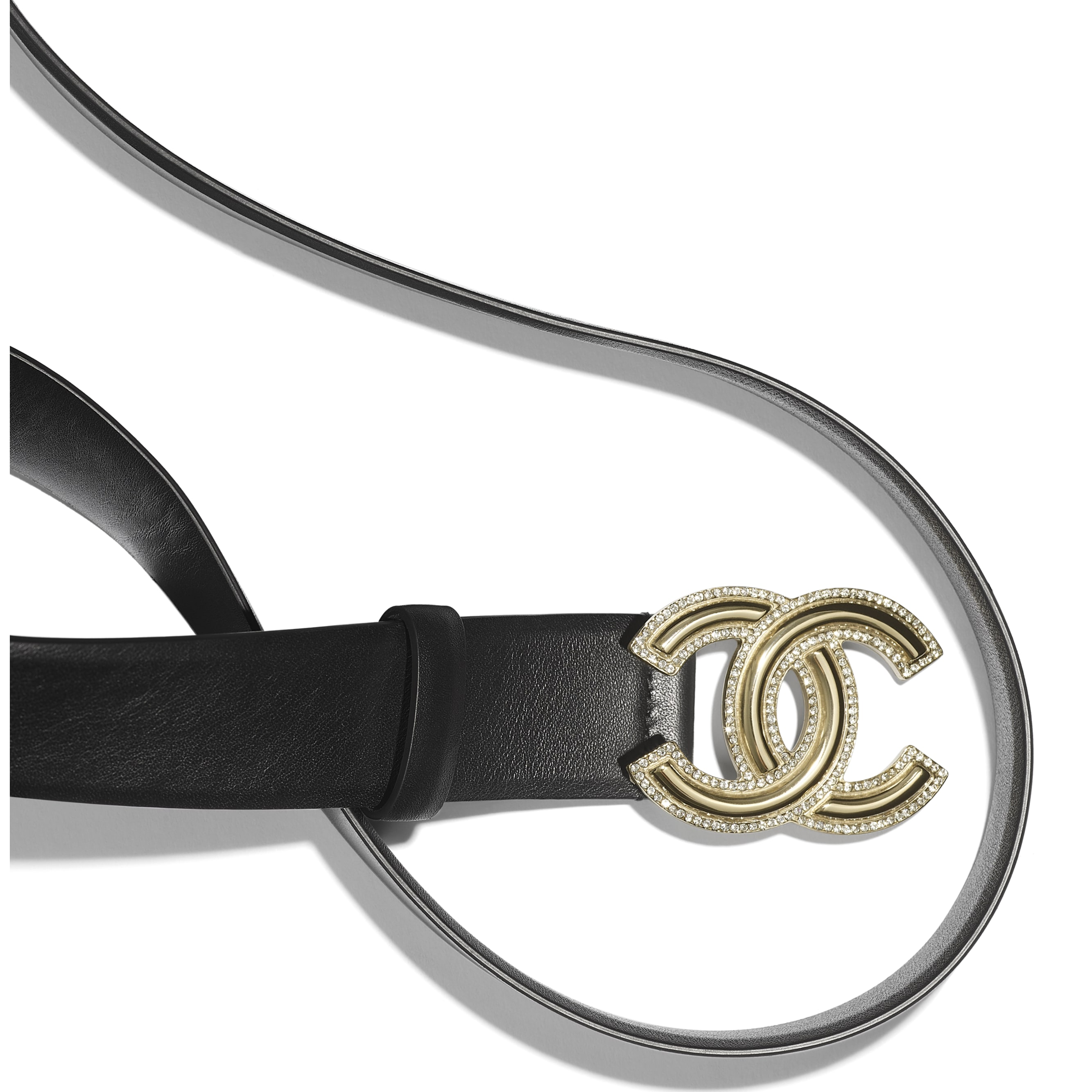 Belt - Black - Calfskin, Gold-Tone Metal & Diamanté - CHANEL - Alternative view - see standard sized version