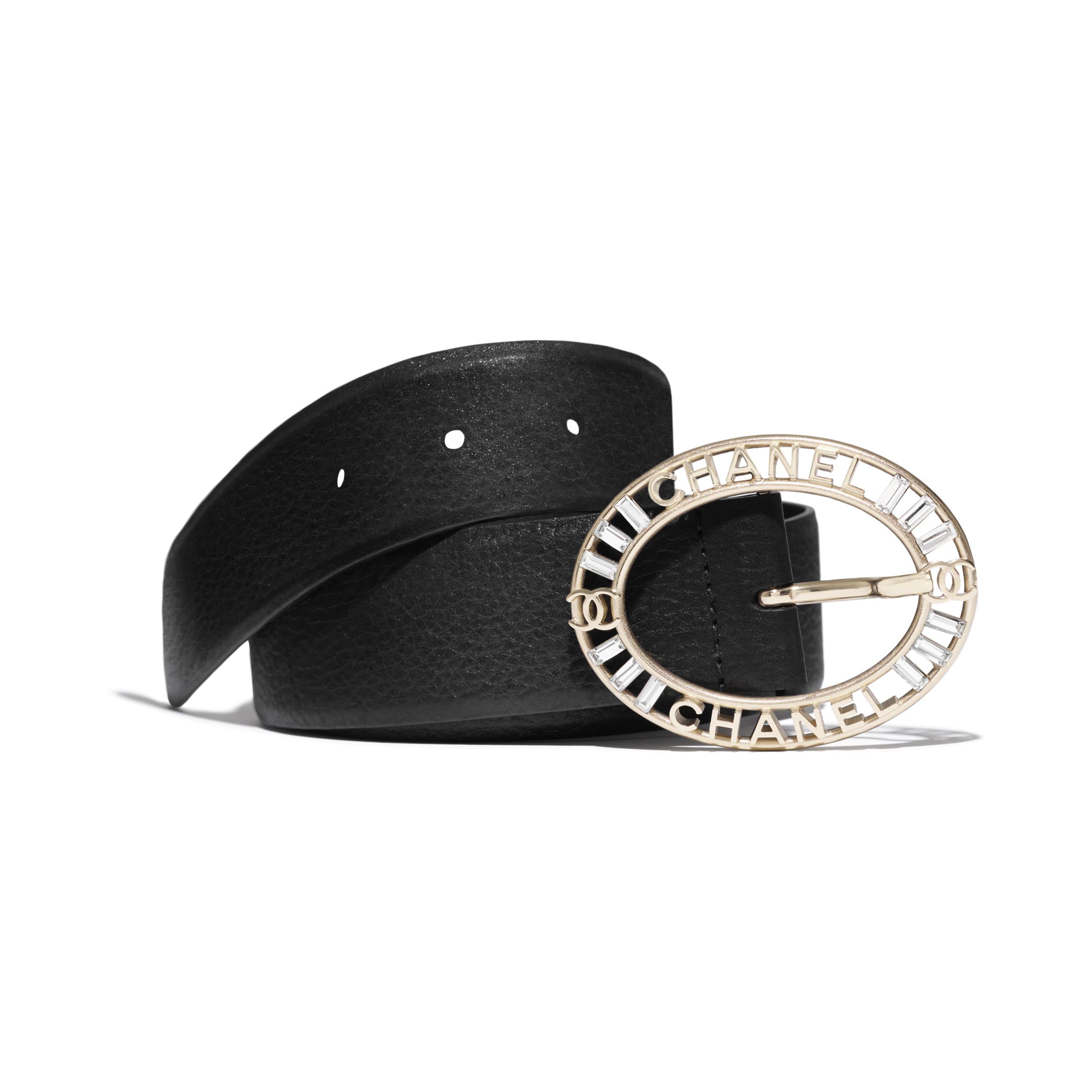 Belt - Black - Calfskin, Gold-Tone Metal & Diamanté - Default view - see standard sized version