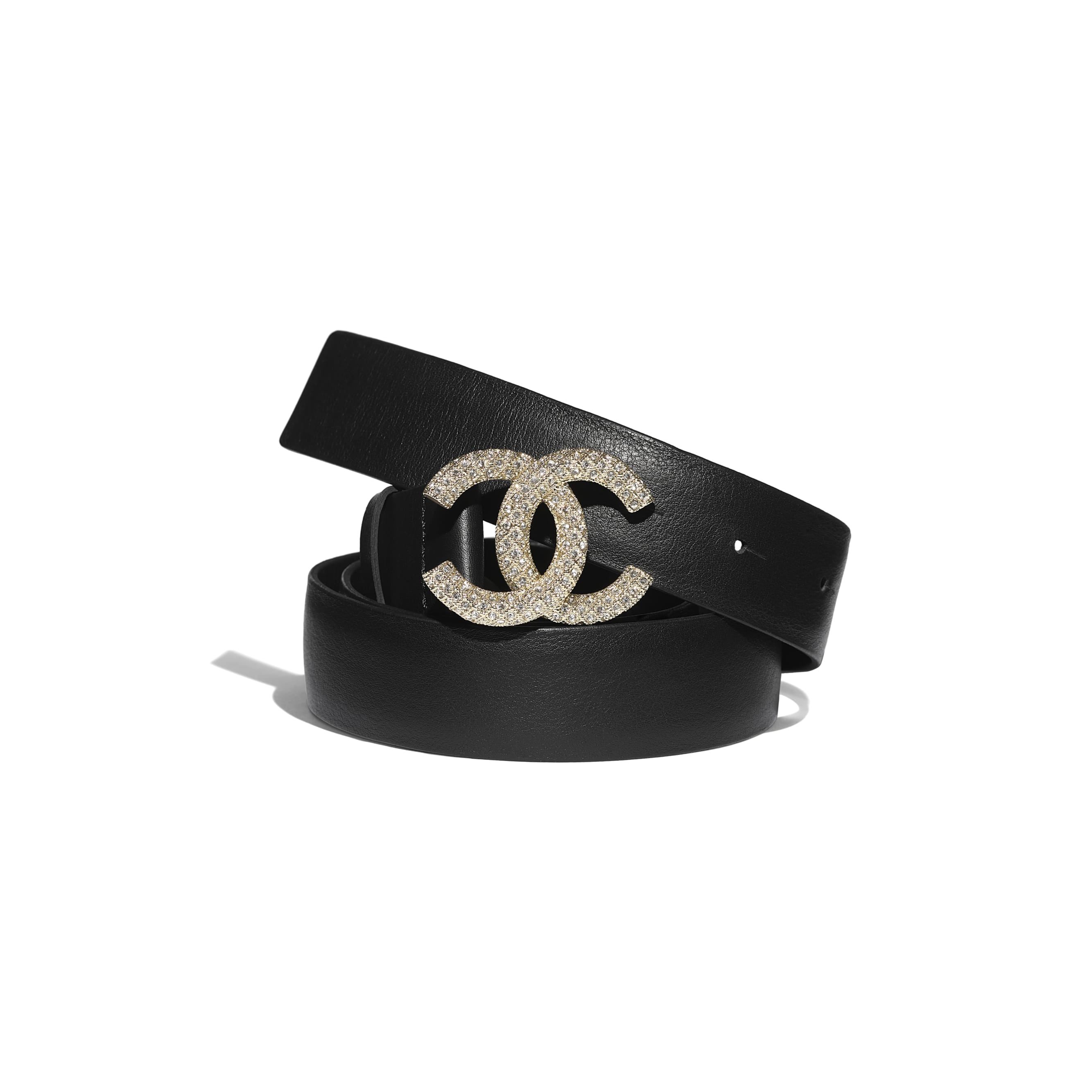 Belt - Black - Calfskin, Gold-Tone Metal & Diamanté - CHANEL - Default view - see standard sized version