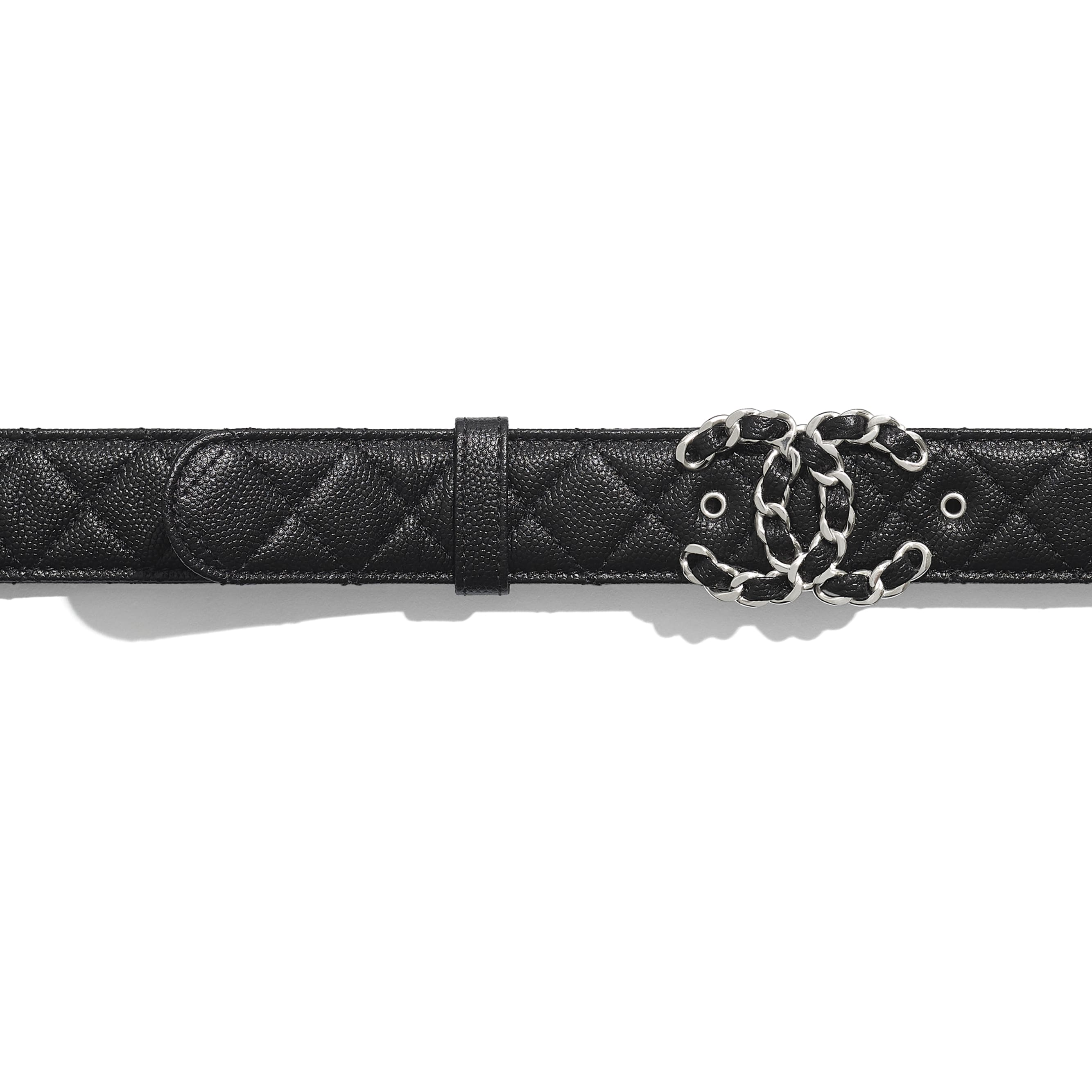 Belt - Black - Calfskin & Silver Metal - Alternative view - see standard sized version