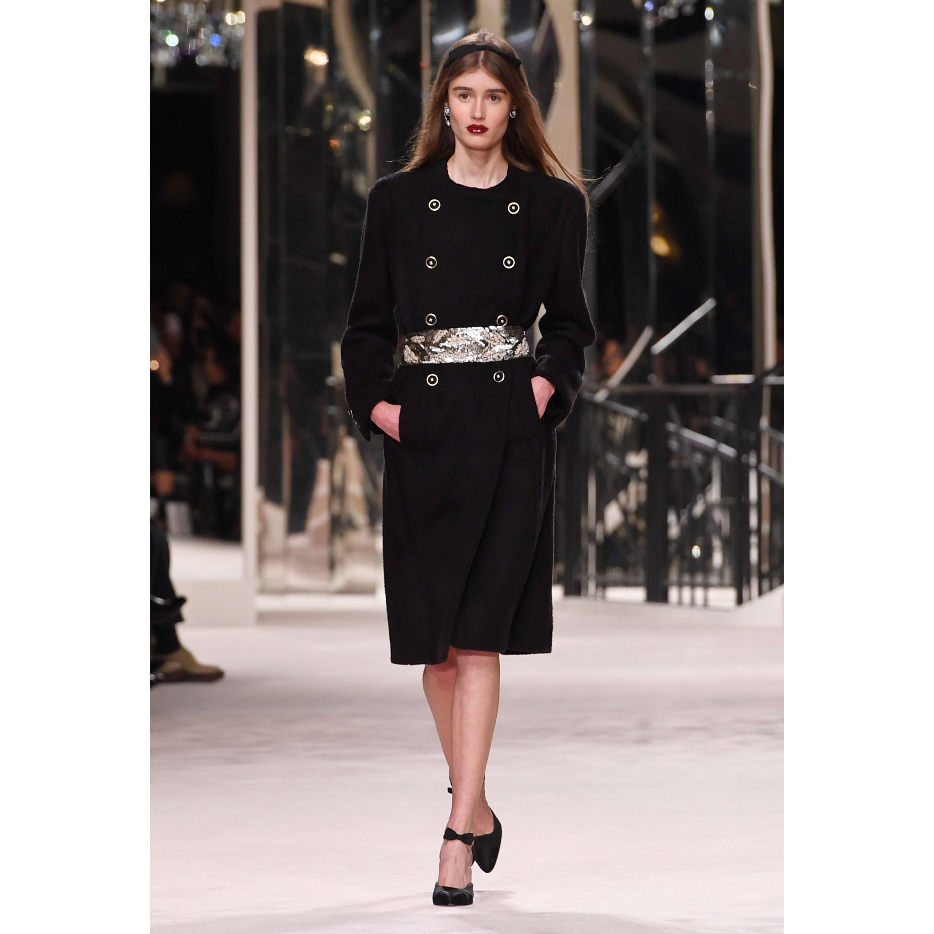 Belt - Black - Embroidered Silk Muslin - CHANEL - Default view - see standard sized version